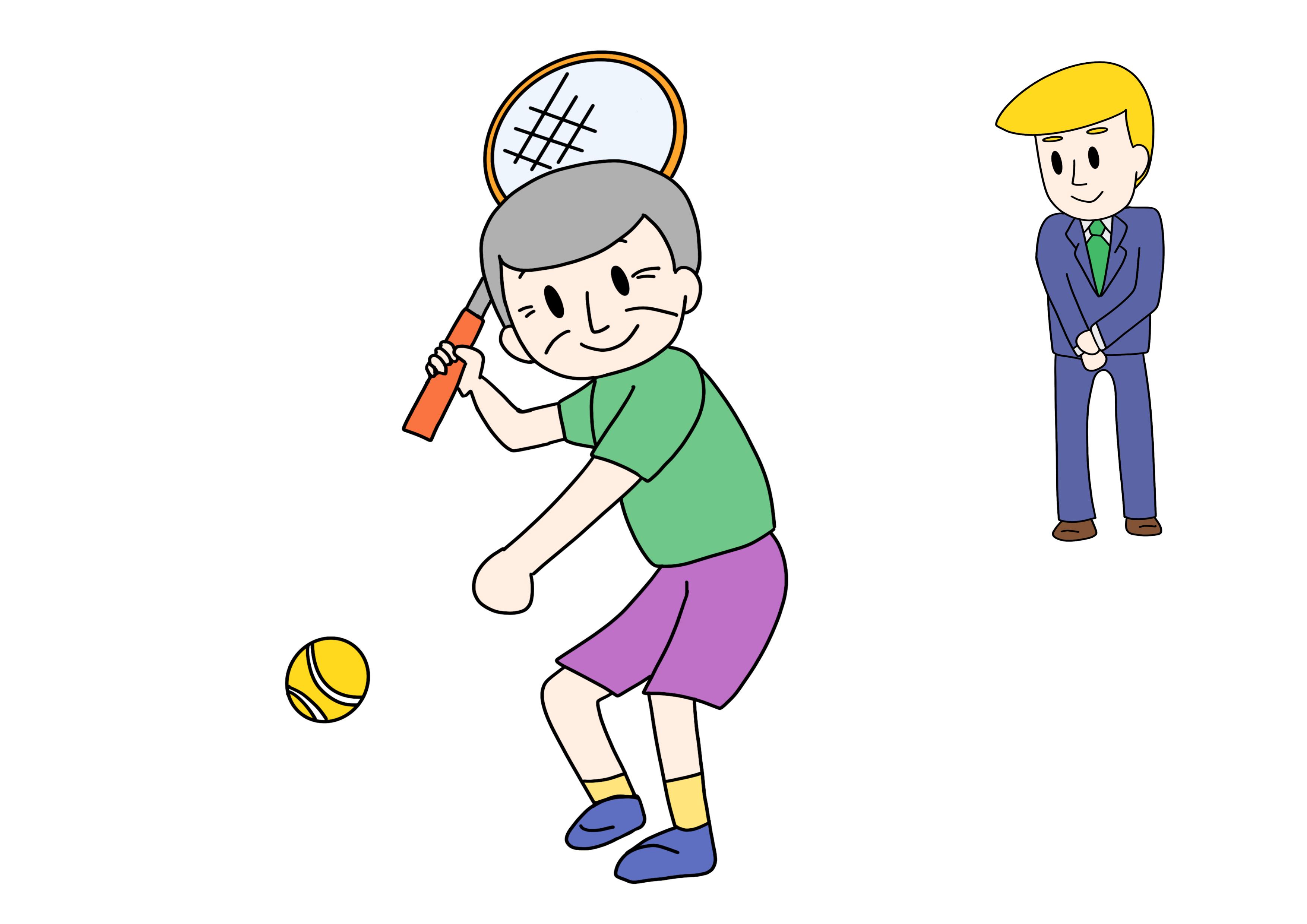 49課イラスト【テニスをなさいます/なさる】