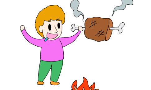 46課イラスト【肉が焼ける】