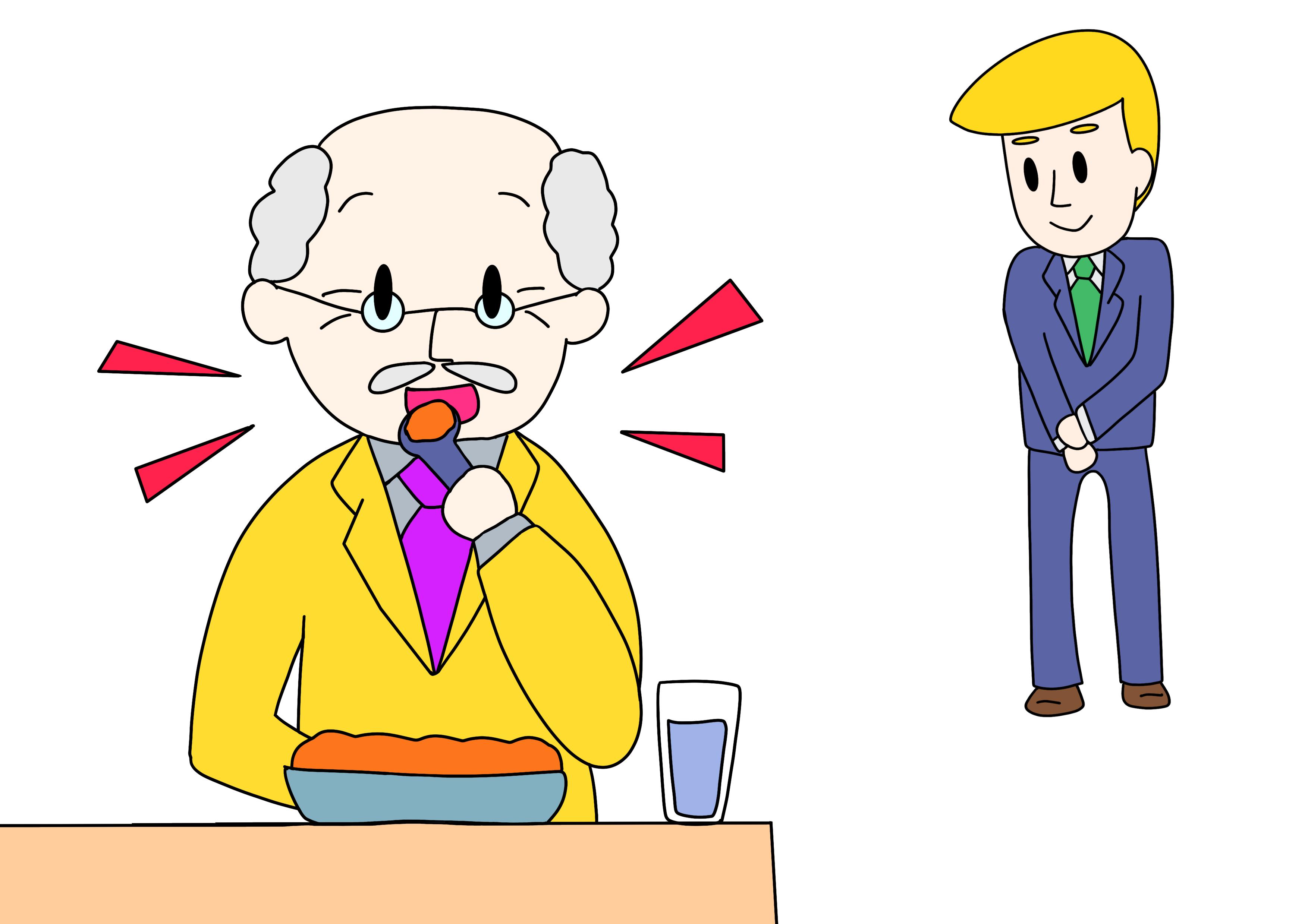 49課イラスト【社長が召し上がる】
