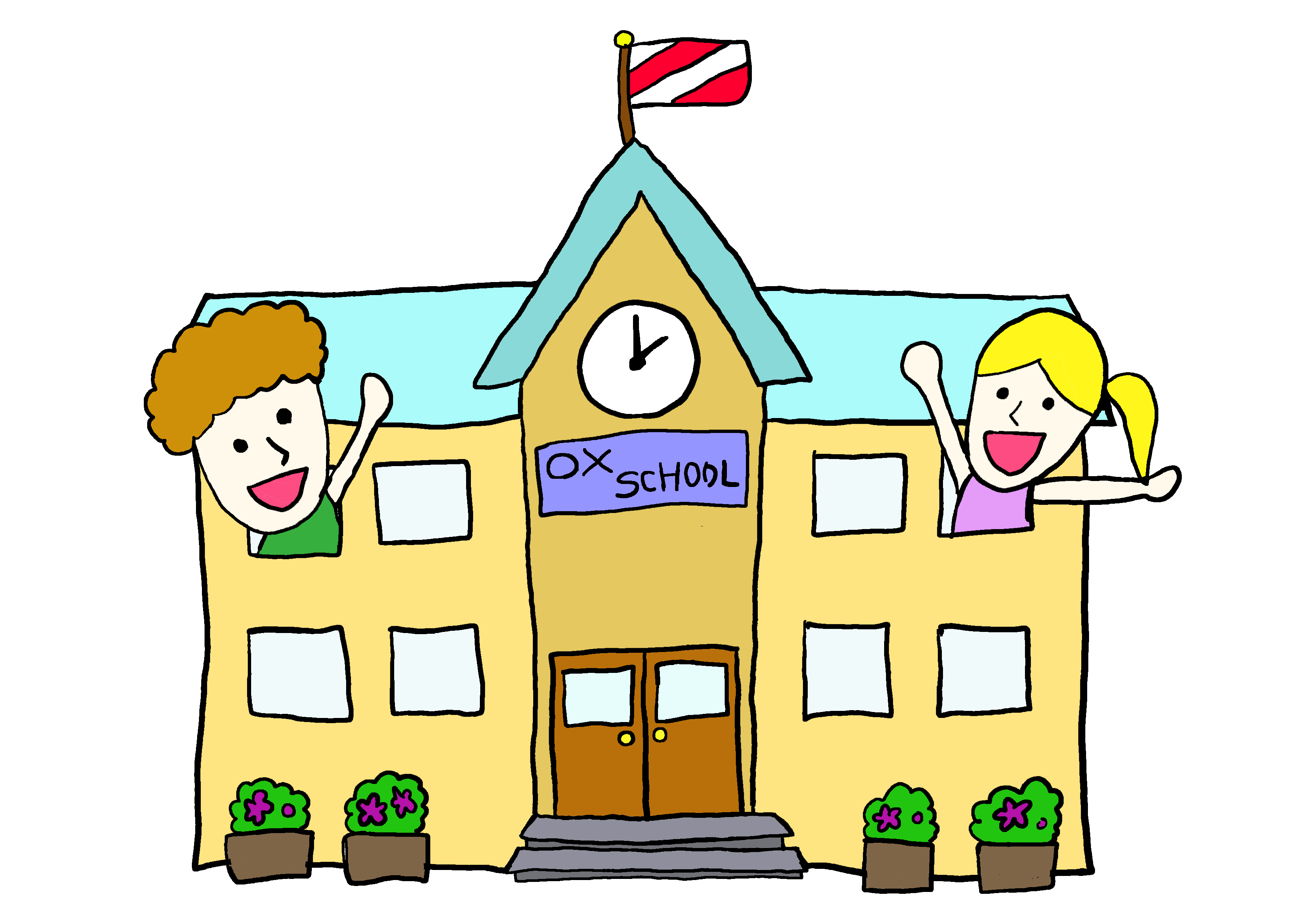 商用フリーイラスト【学校へ来る】
