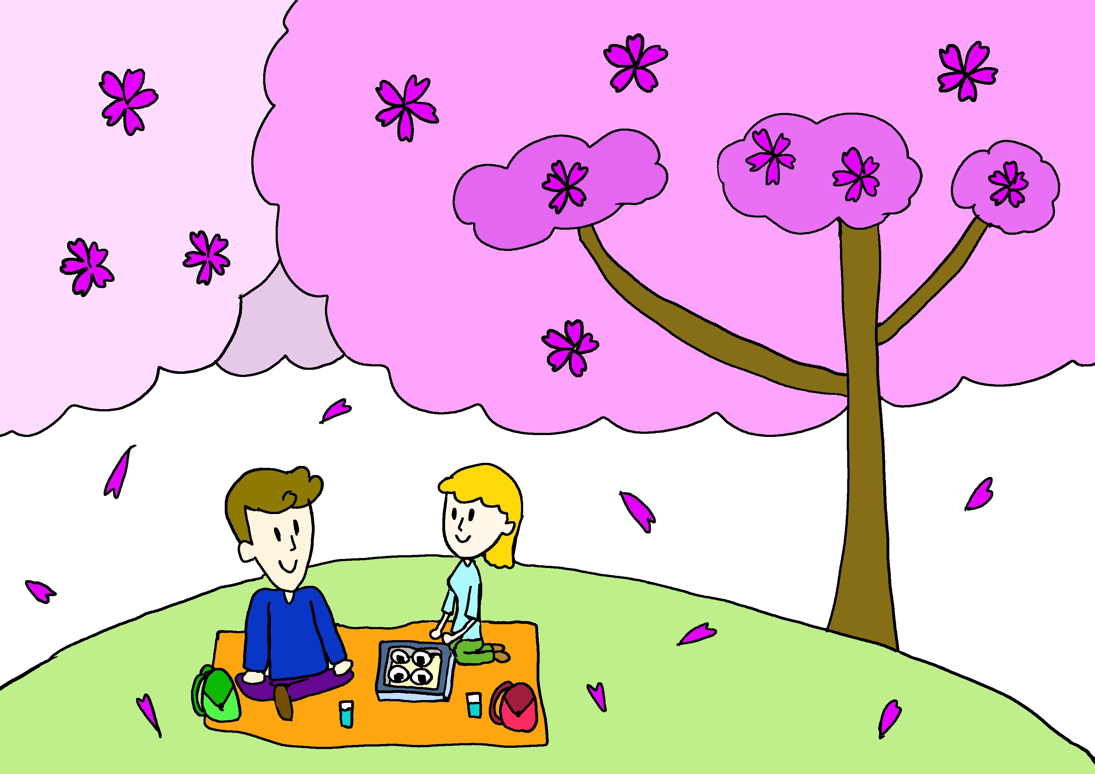 商用フリーイラスト【お花見】