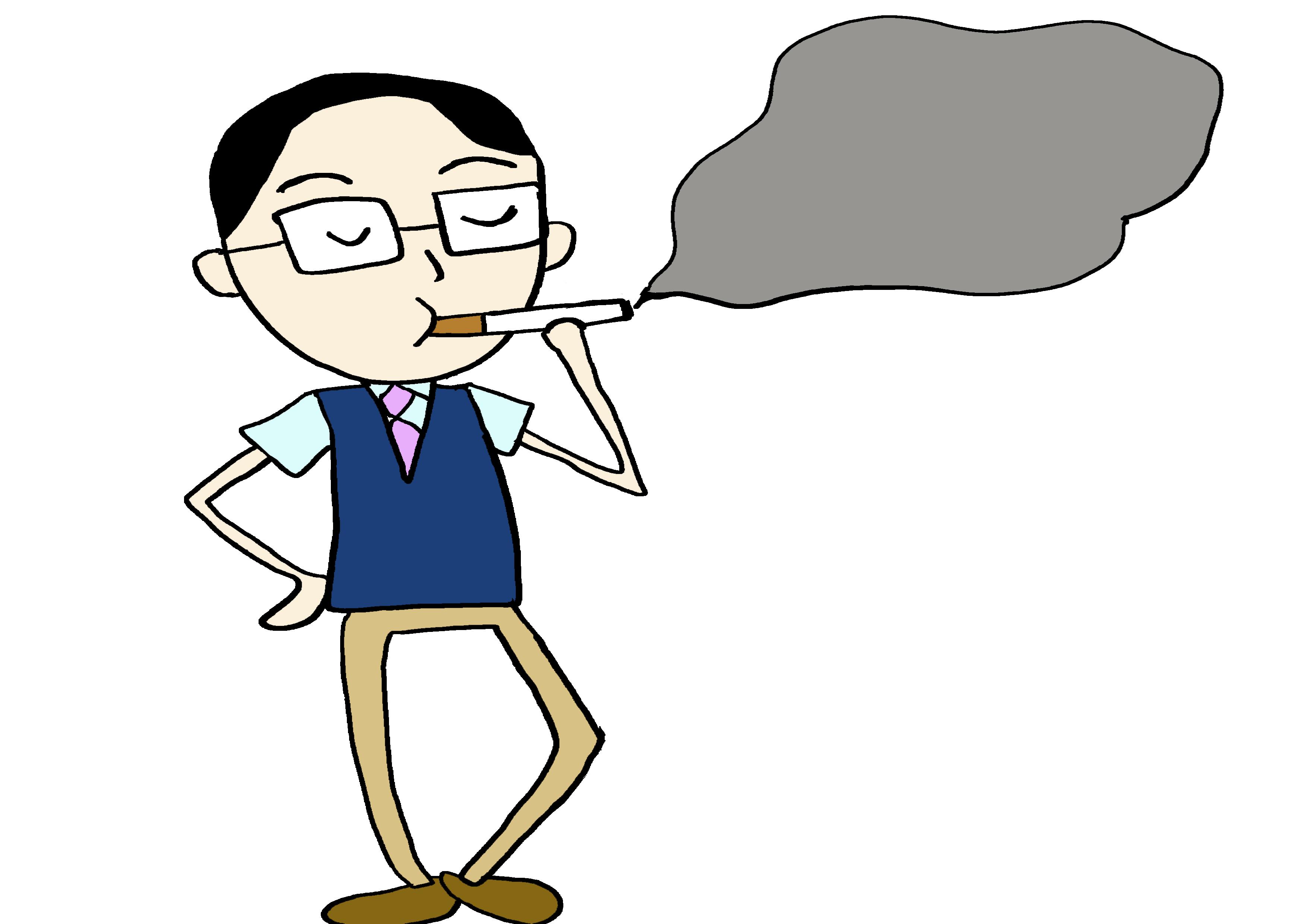 イラスト【たばこを吸う】