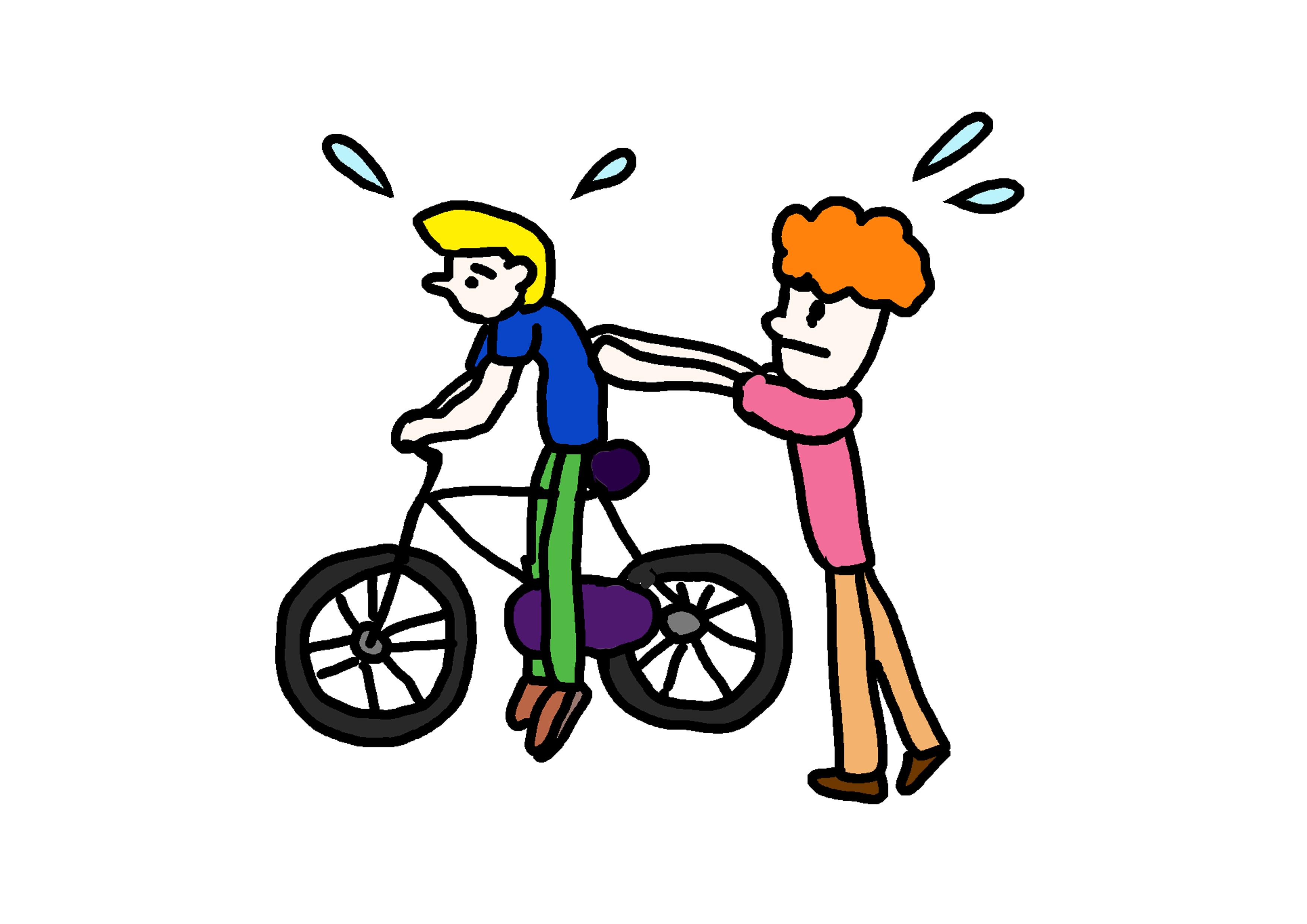 イラスト無料素材 自転車に乗る にほんご教師ピック