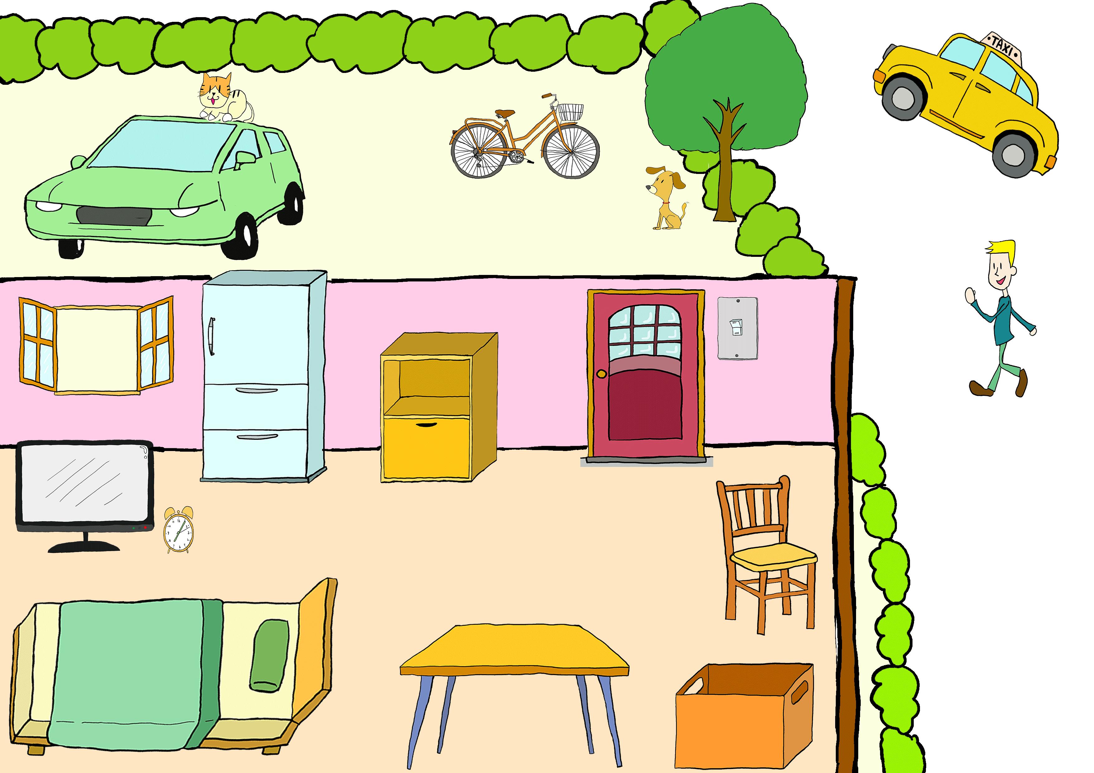 商用フリーイラスト【部屋、位置】