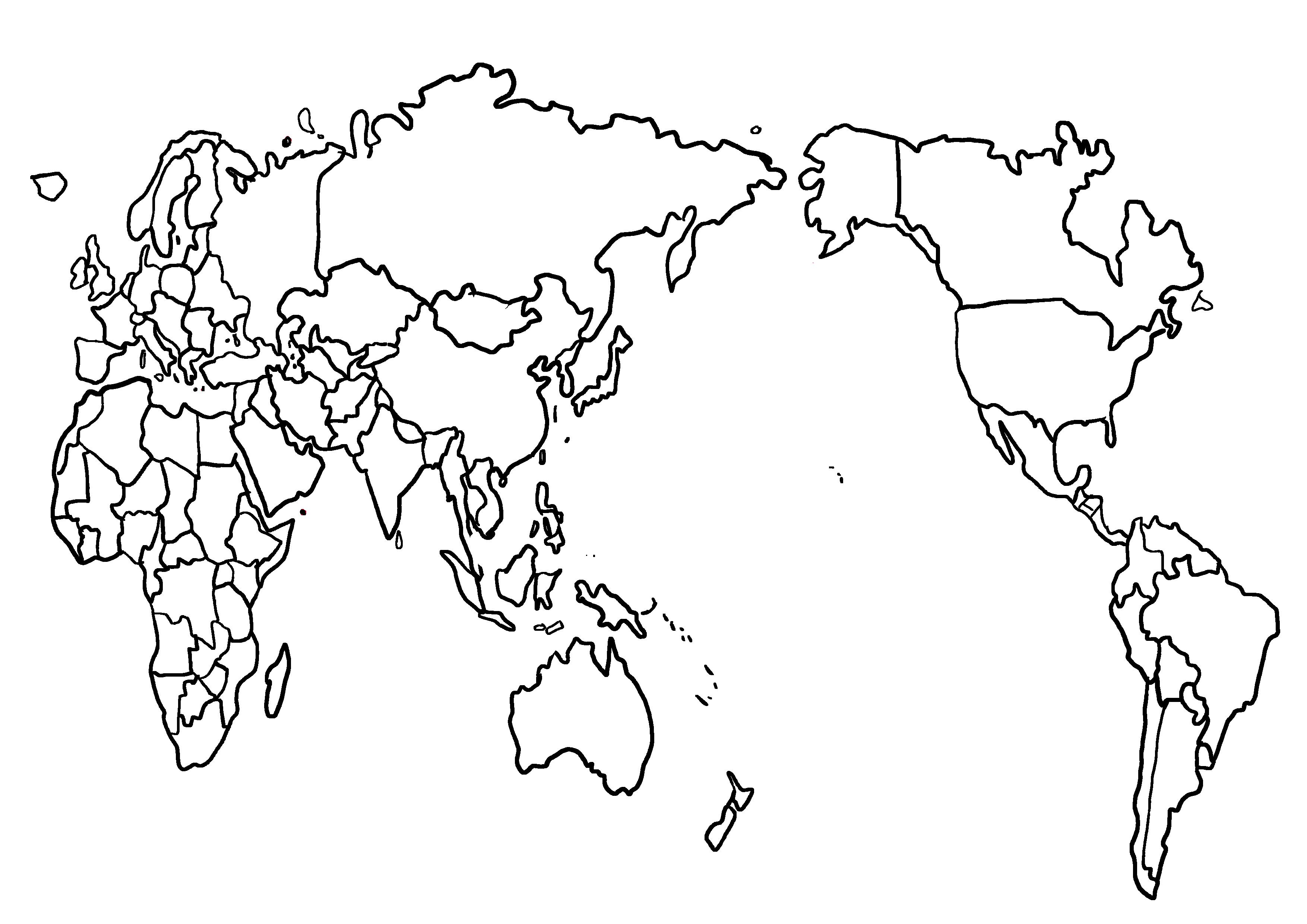 世界地図の白地図