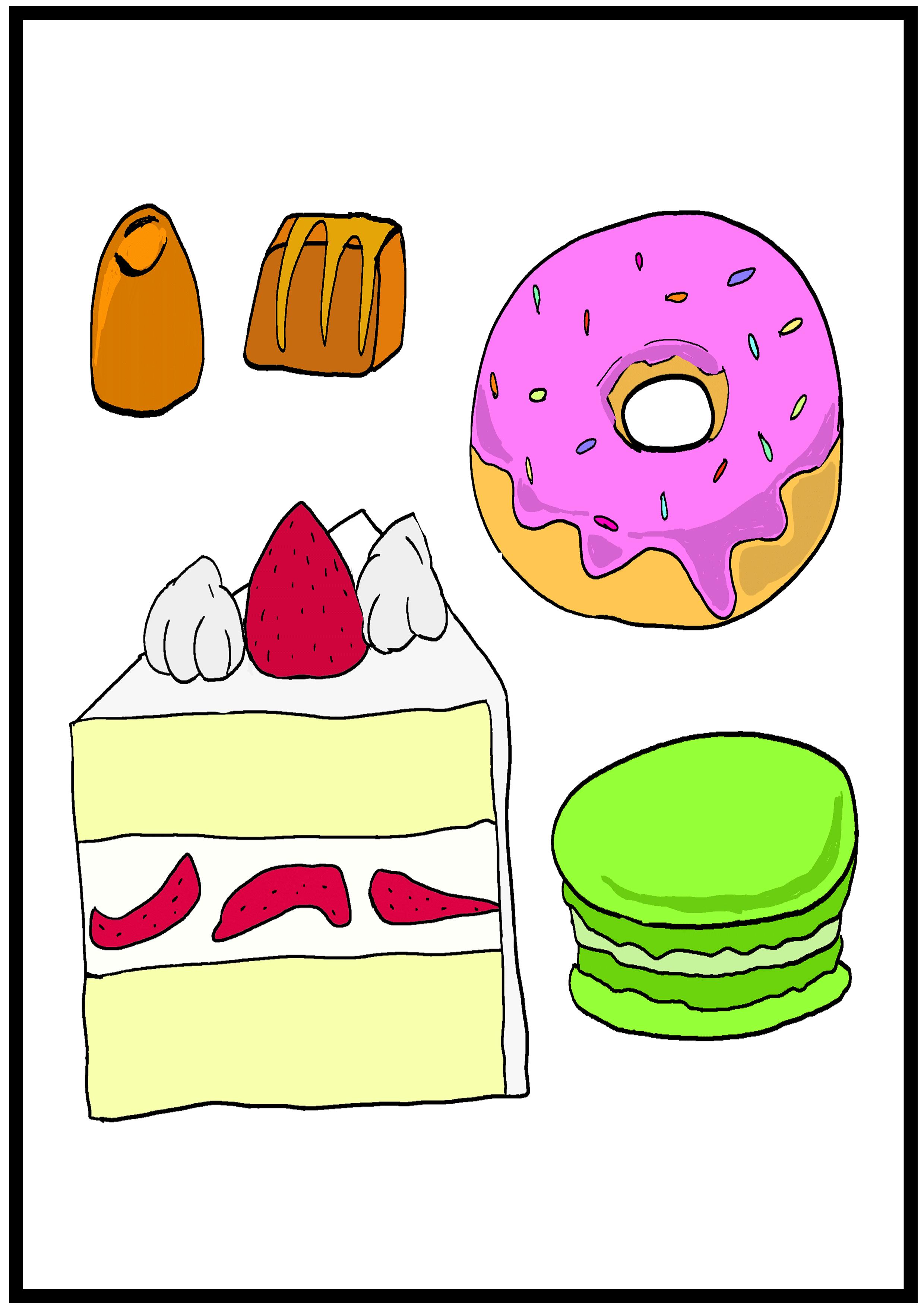 イラスト【甘い食べ物】