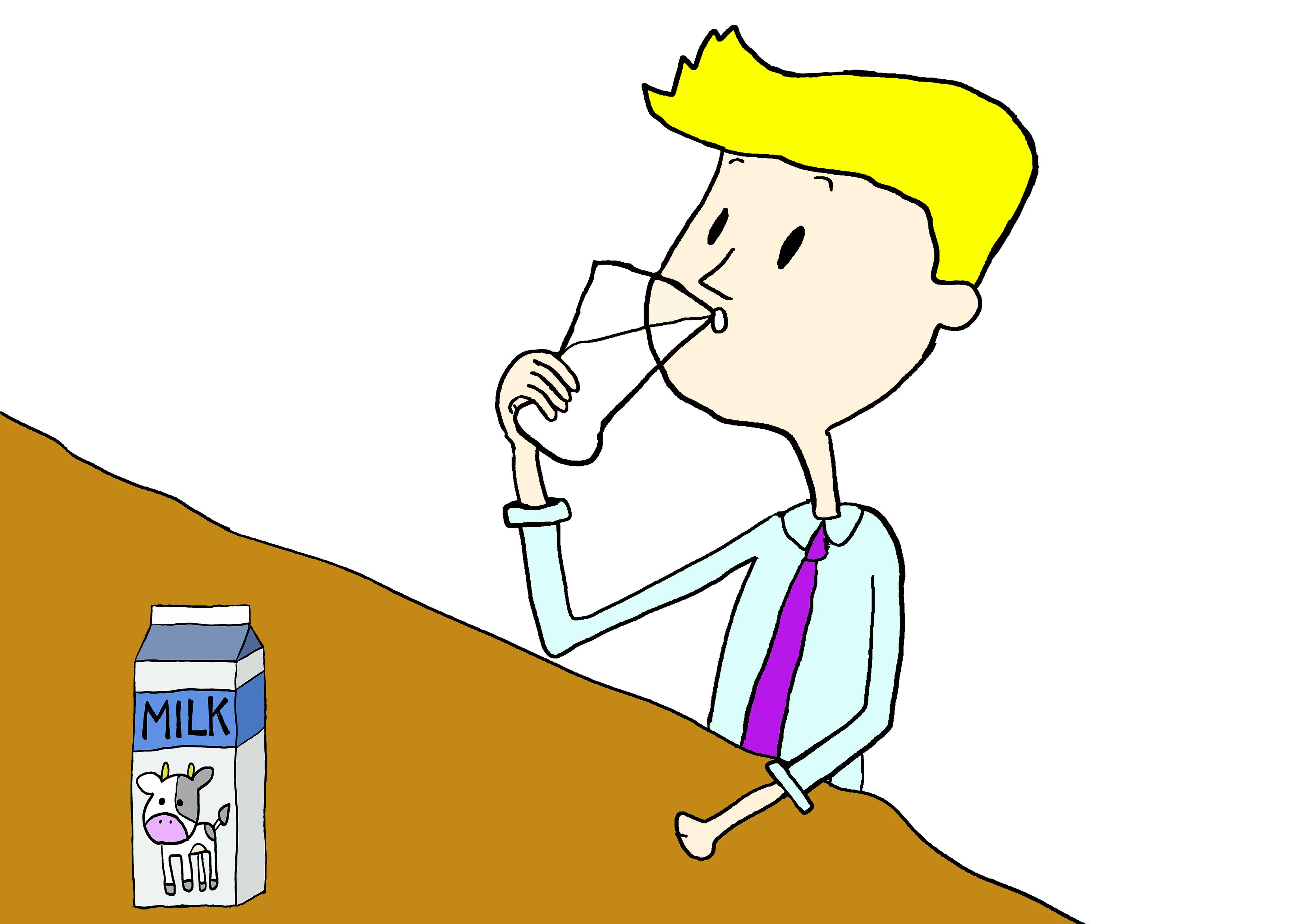 イラスト【牛乳を飲んでいます】