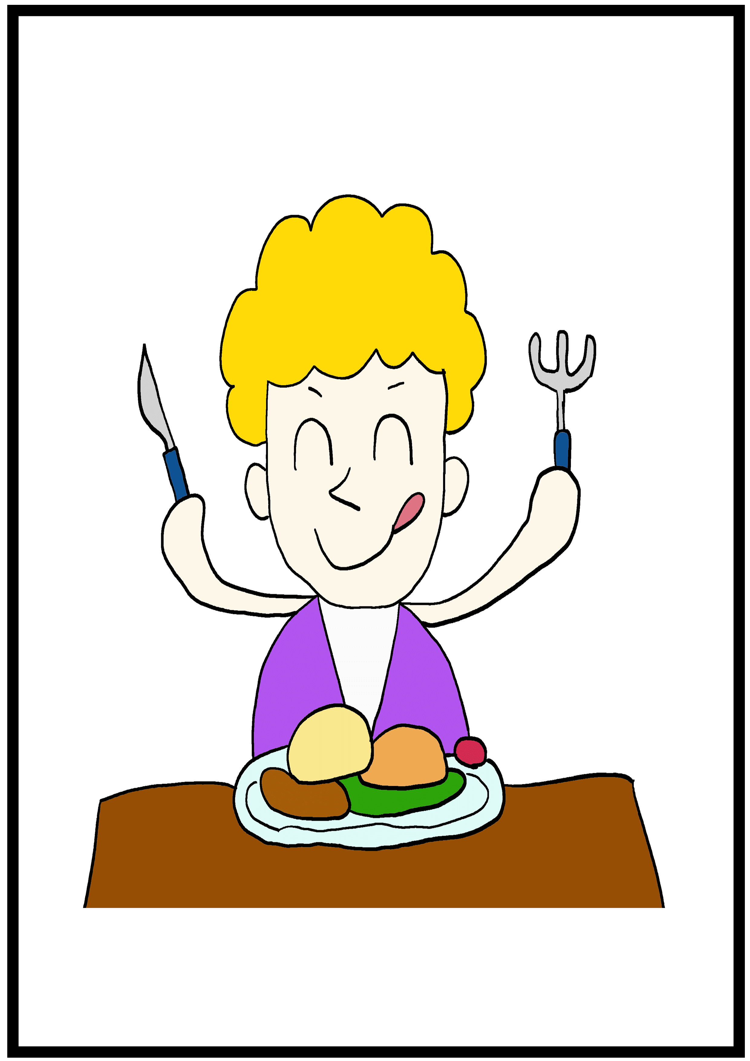 イラスト【ご飯を食べます】