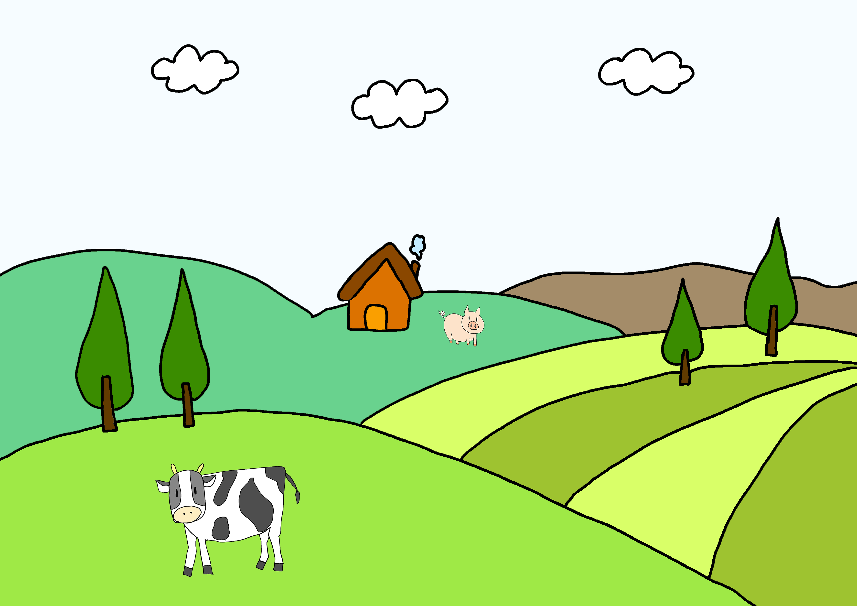25課イラスト【田舎】
