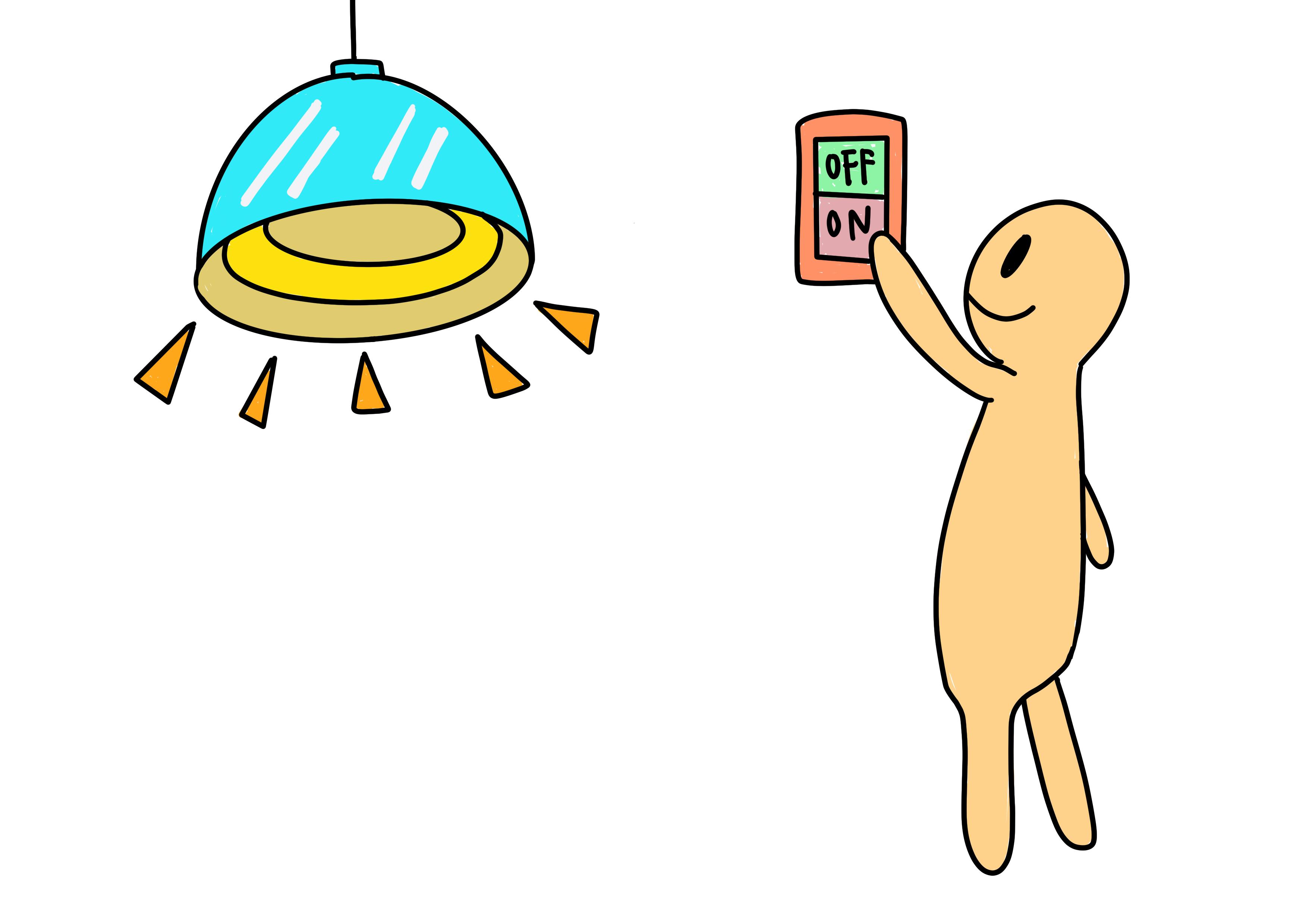 29課イラスト【電気をつける】