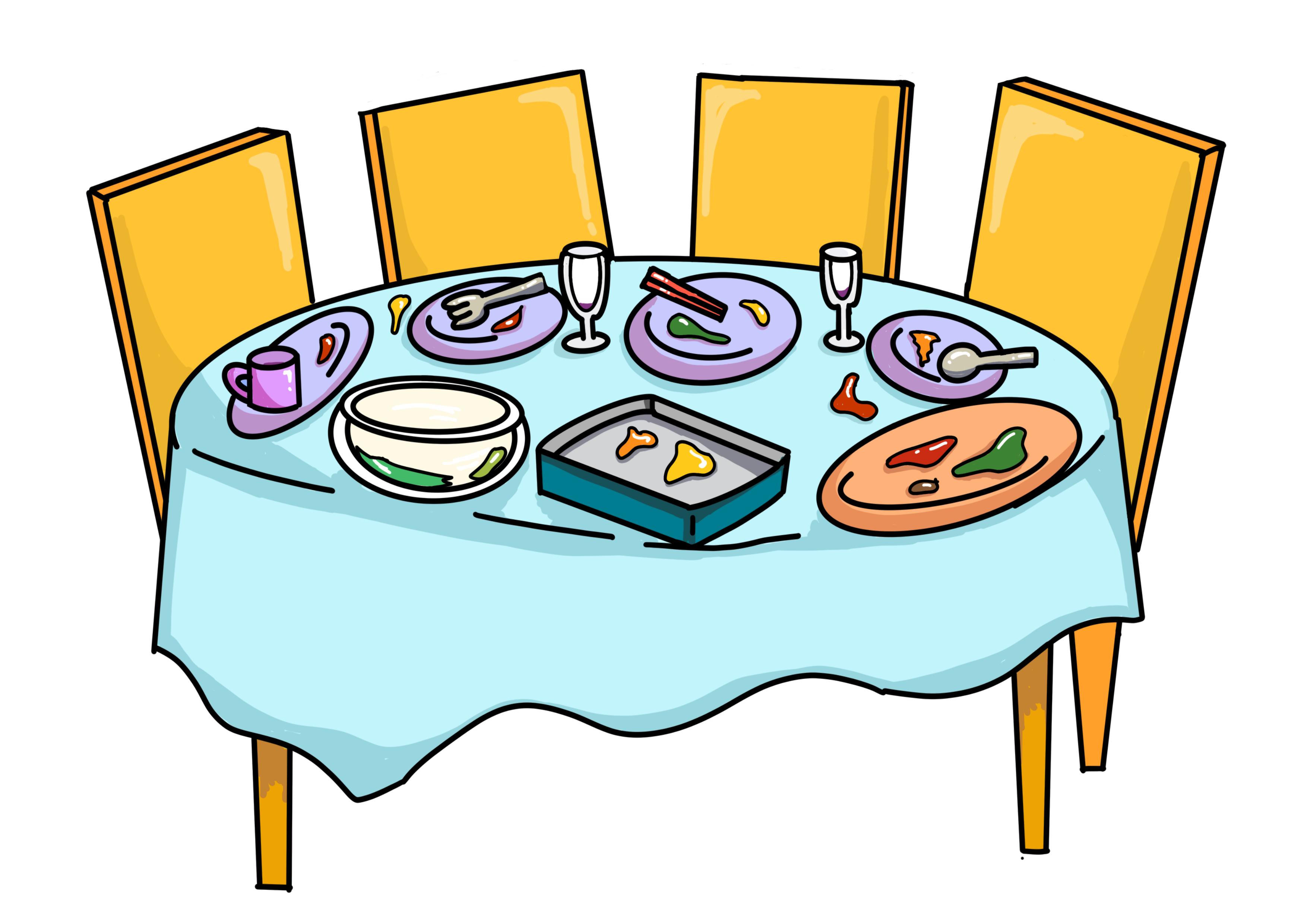 30課イラスト【食事の後そのままにする】