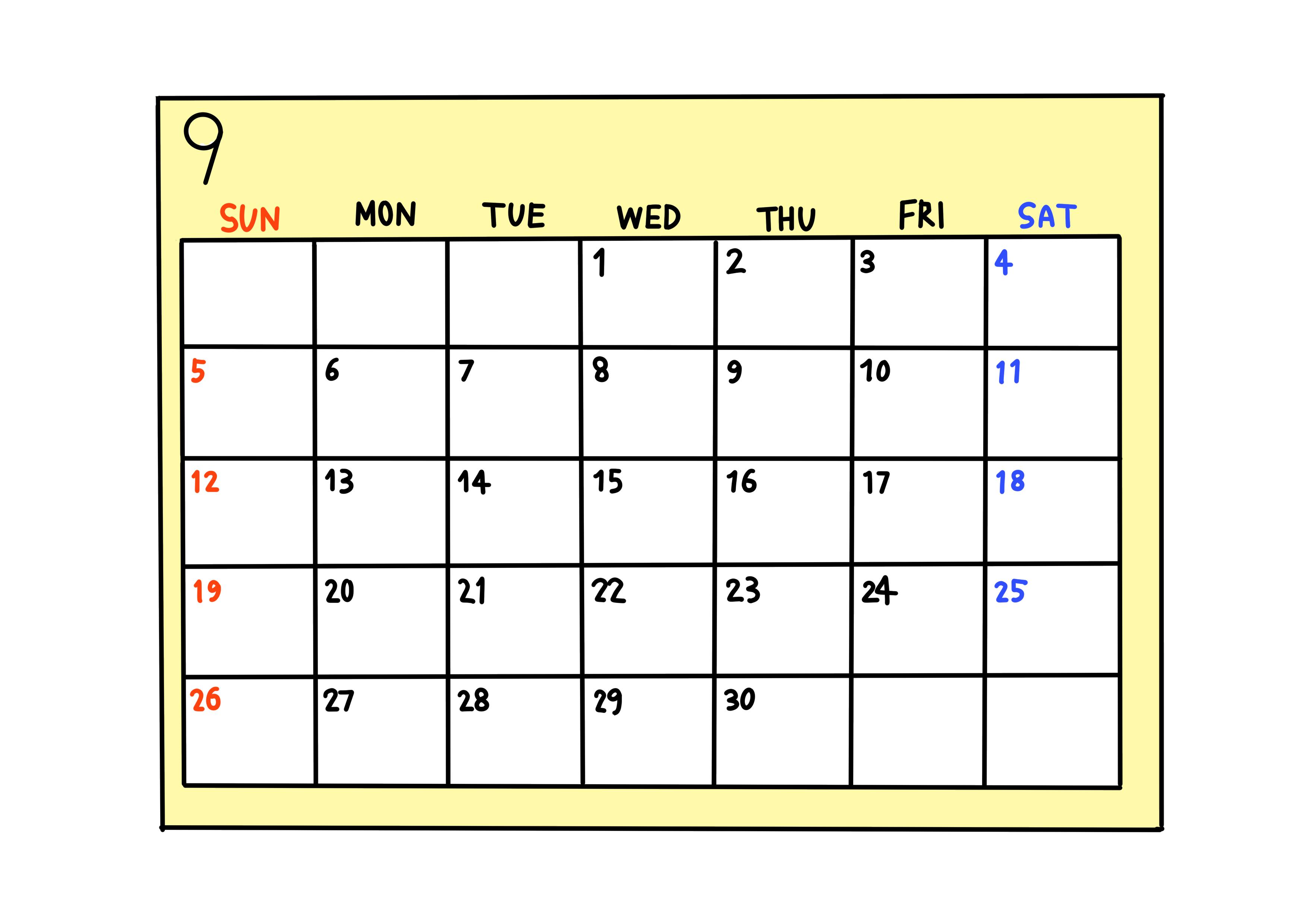 30課イラスト【カレンダー】