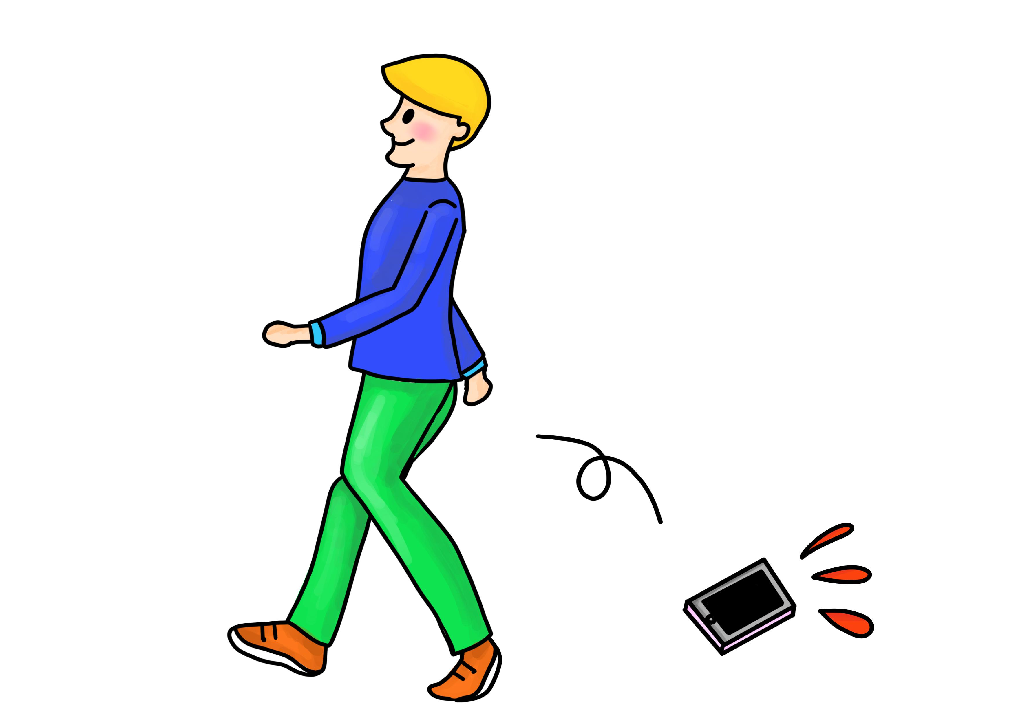 29課イラスト【ケータイを落とす】