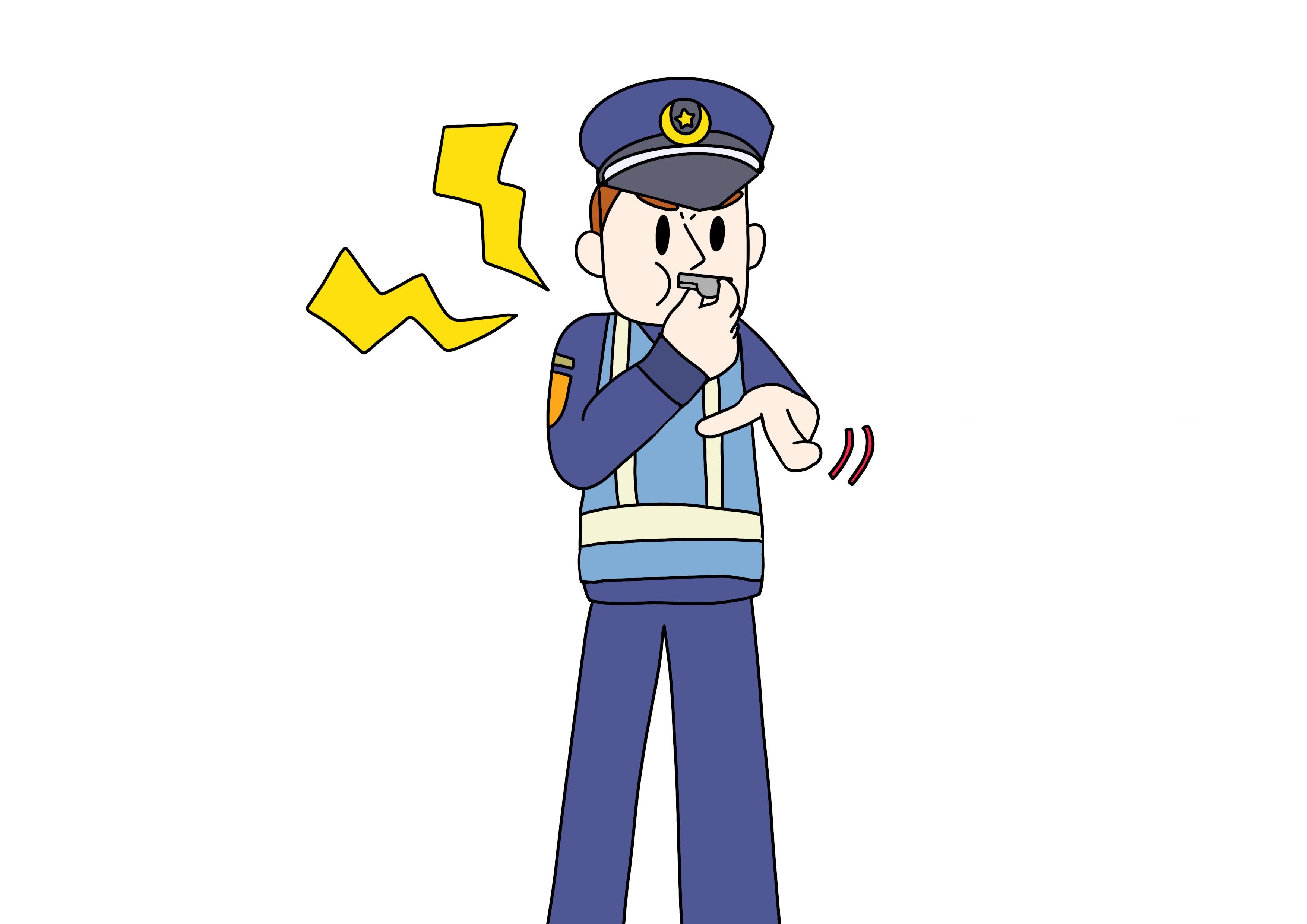 37課イラスト【注意する警官】