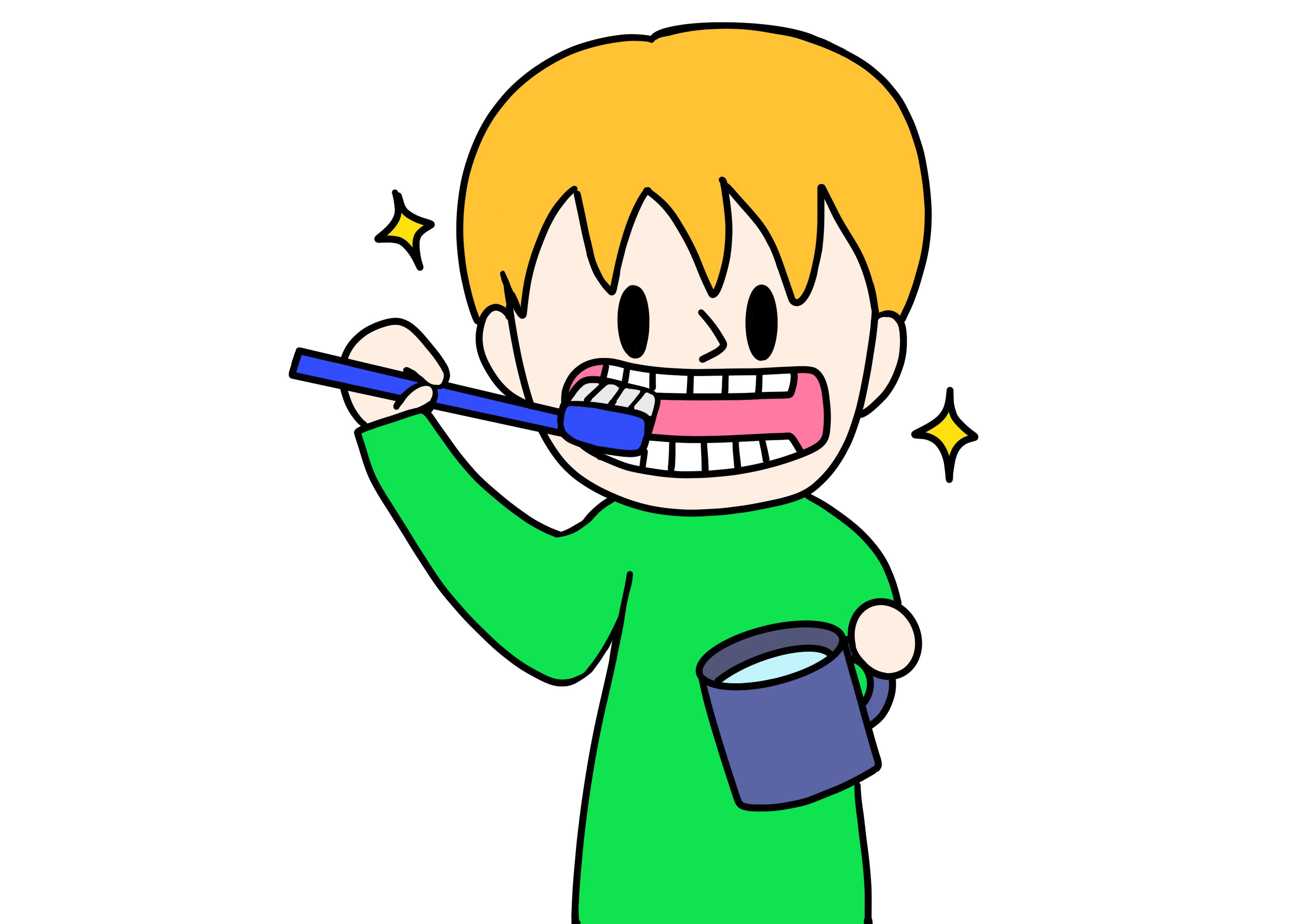34課イラスト【歯を磨く】