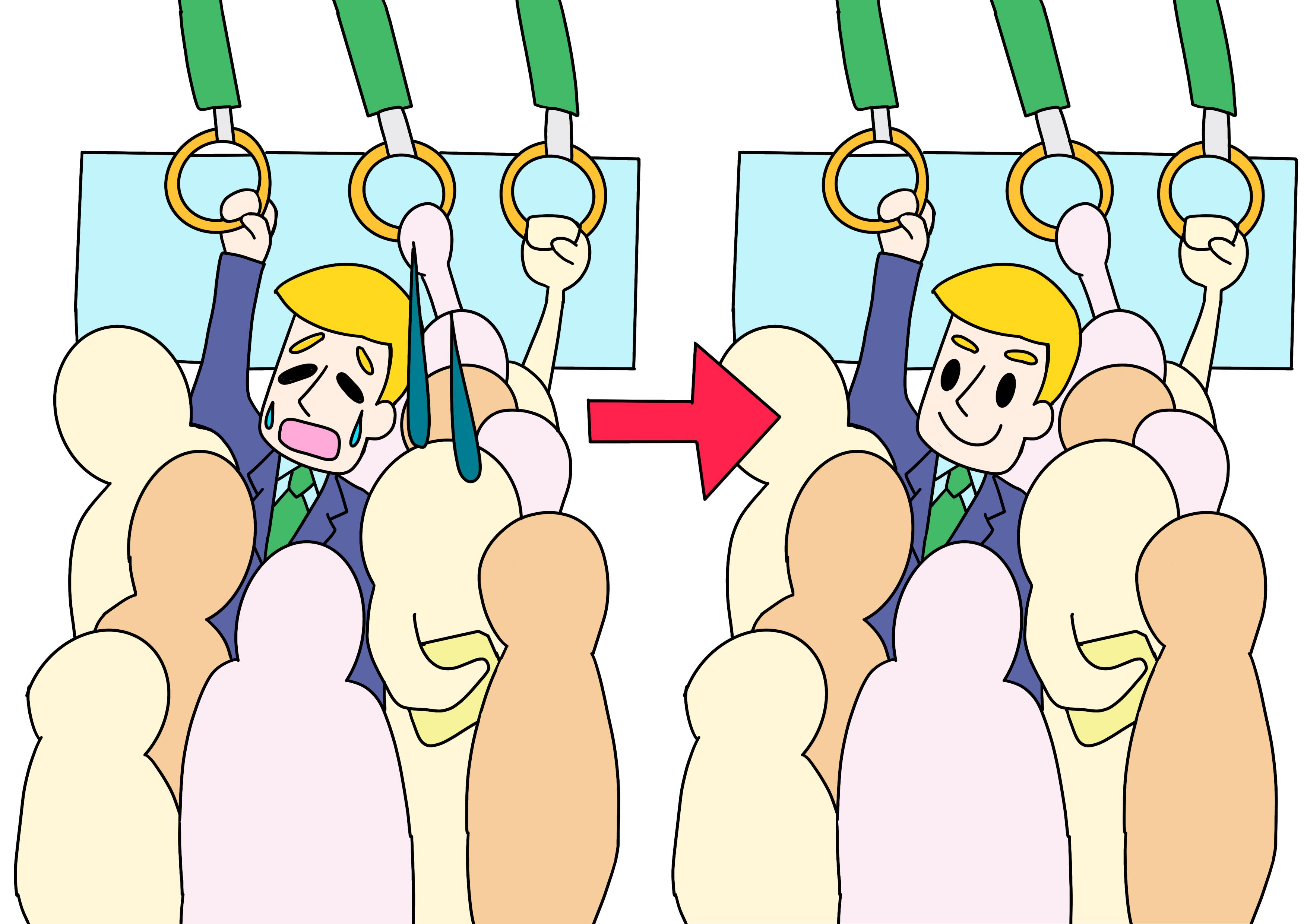 36課イラスト【満員電車に慣れる】