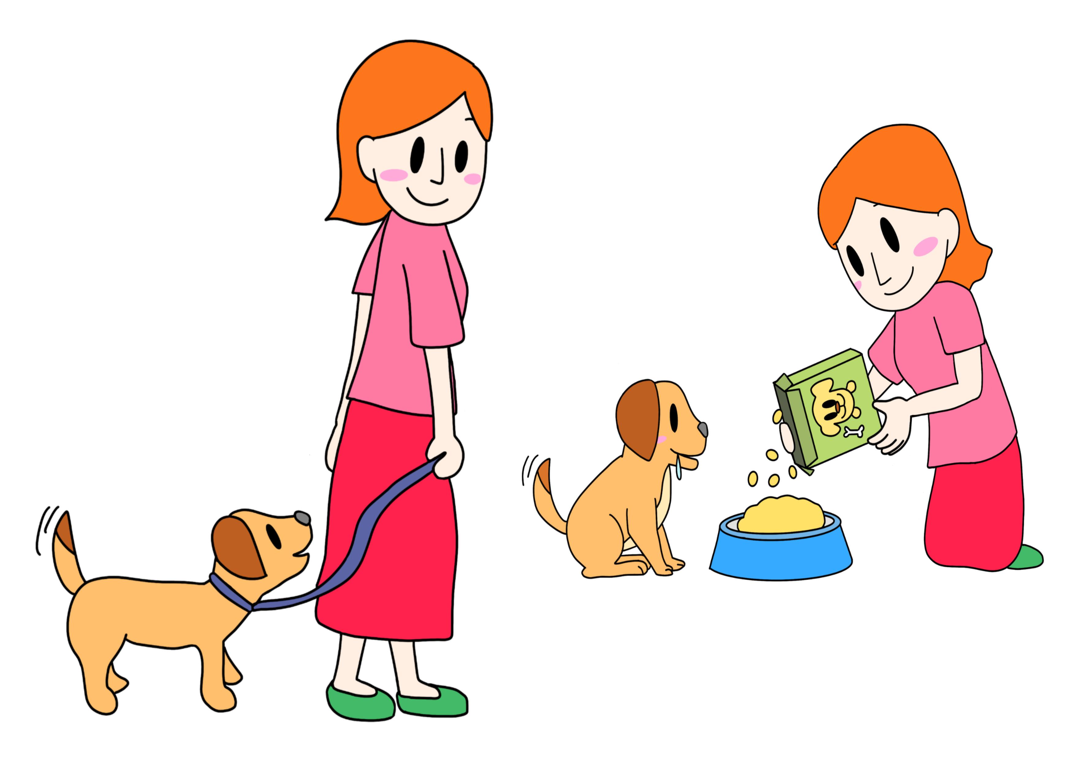 48課イラスト【世話をする/ペットを飼う】