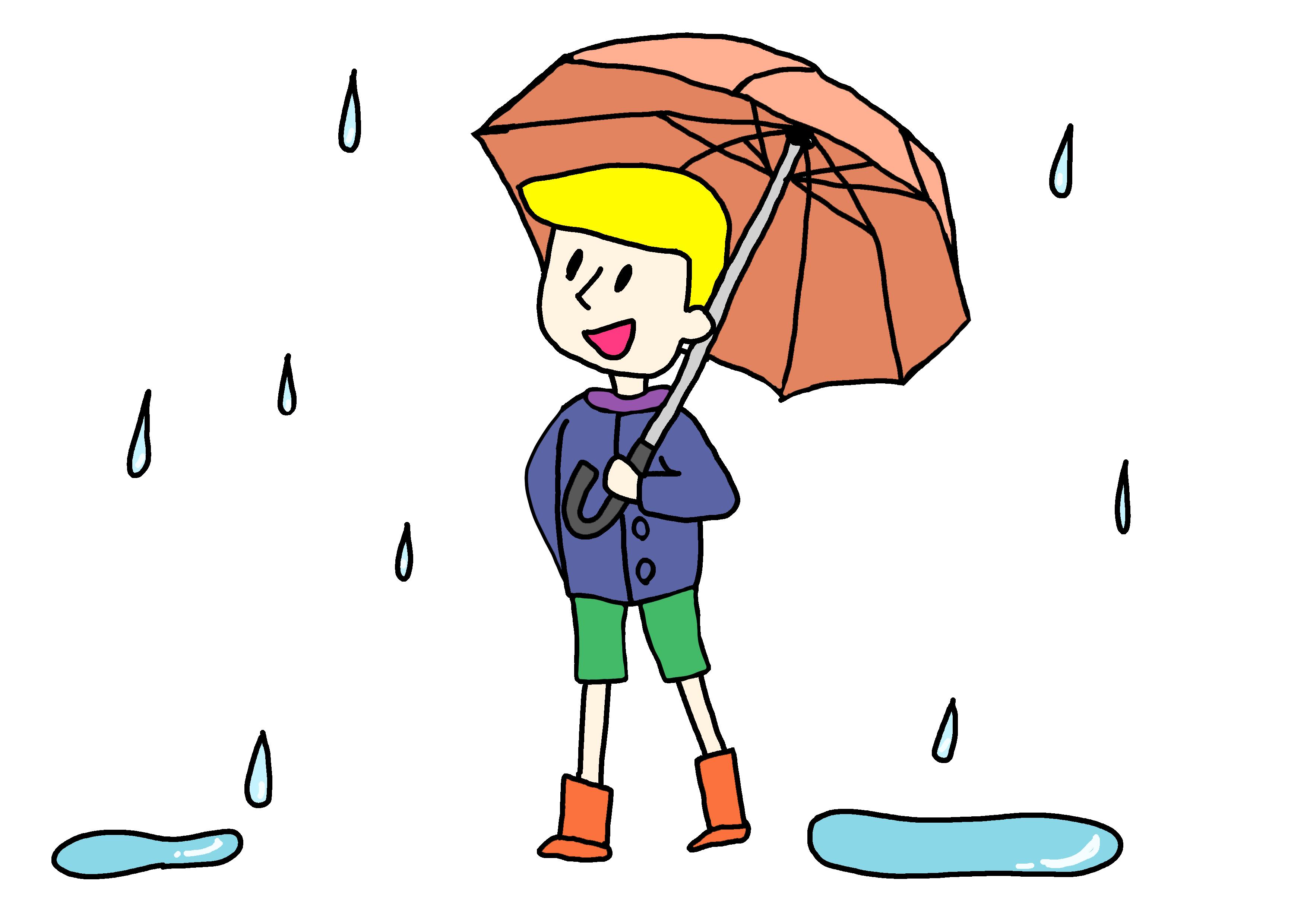 34課イラスト【傘をさす】