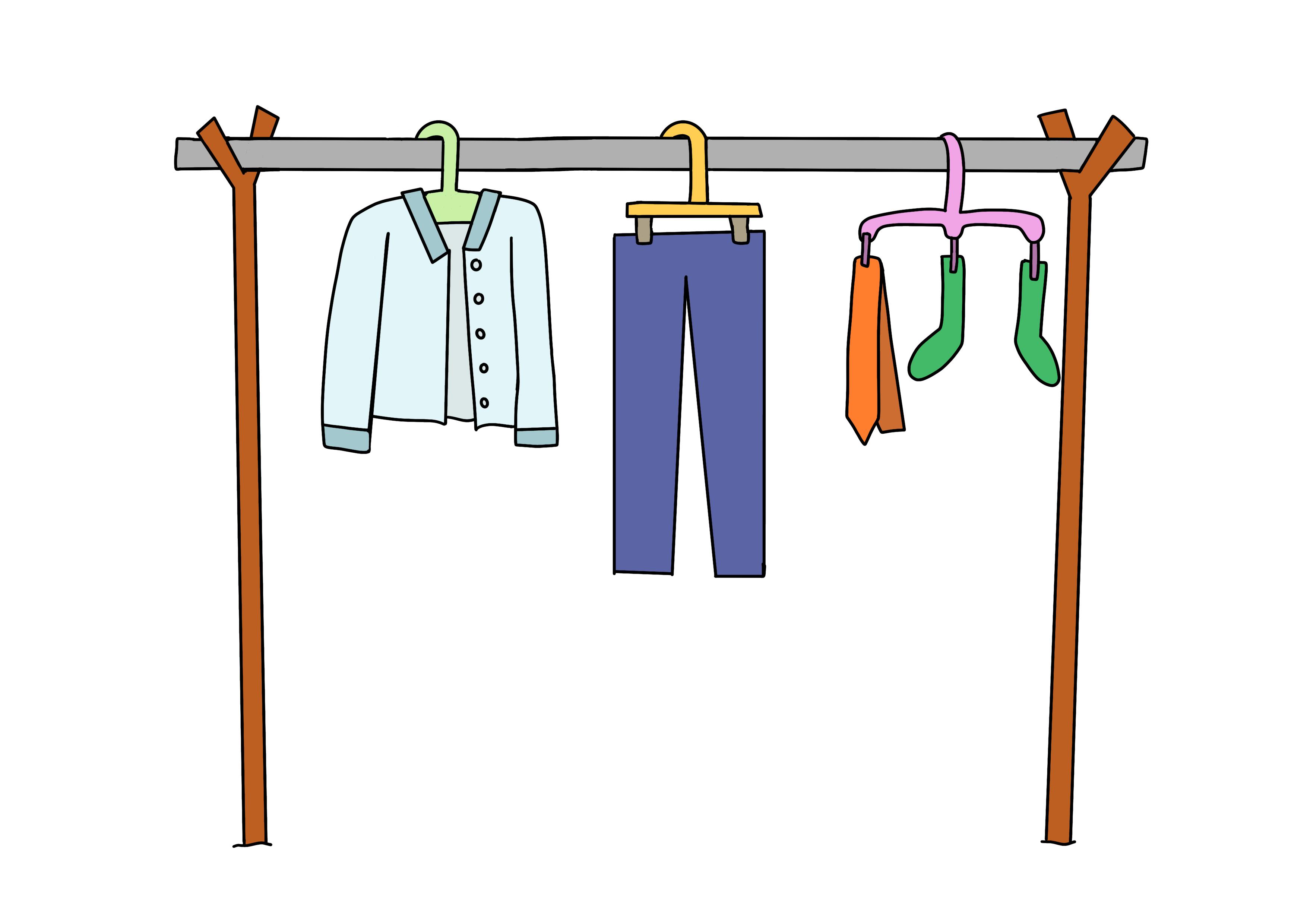 44課イラスト【洗濯物を乾かす】