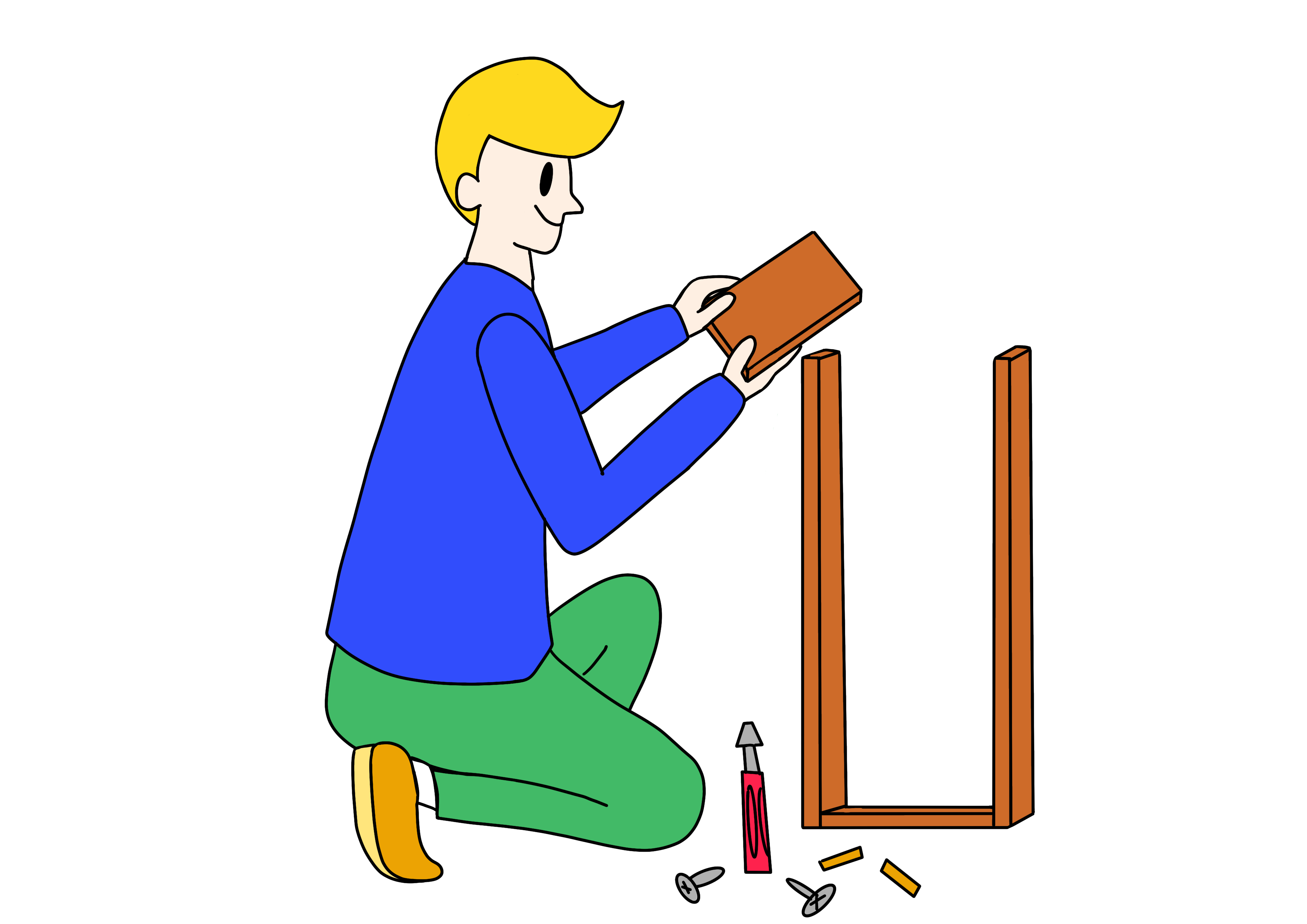 34課イラスト【棚を組み立てる】