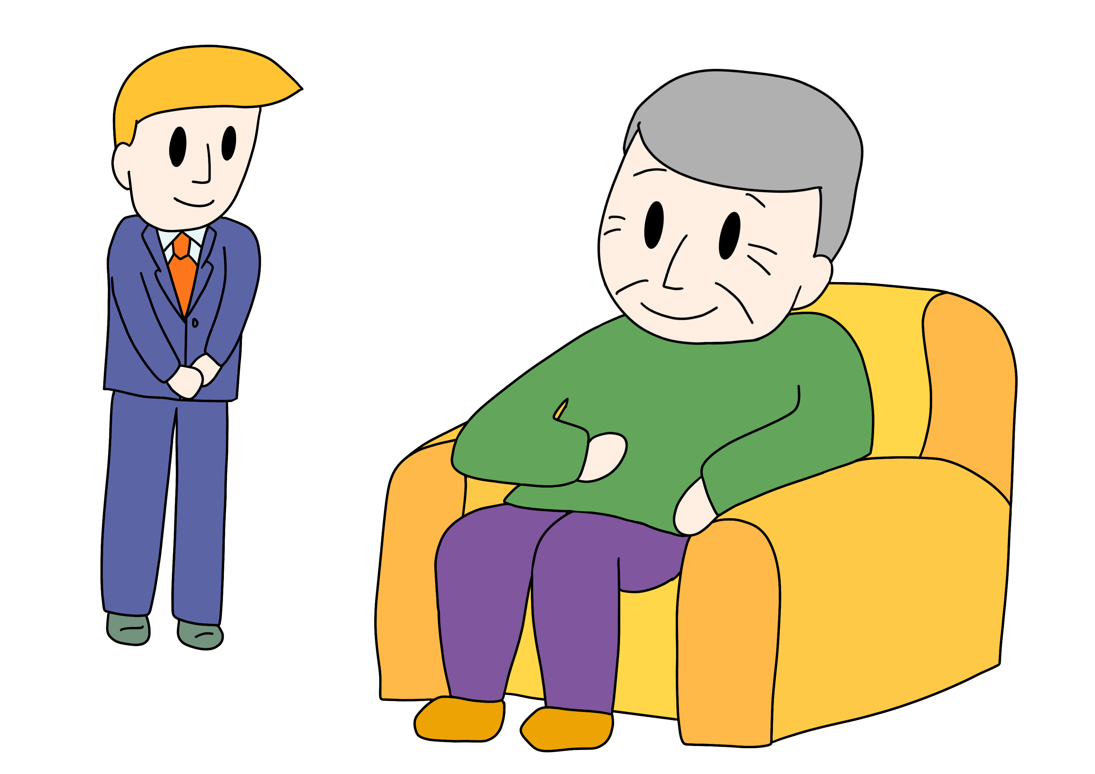 49課イラスト【椅子にかける】