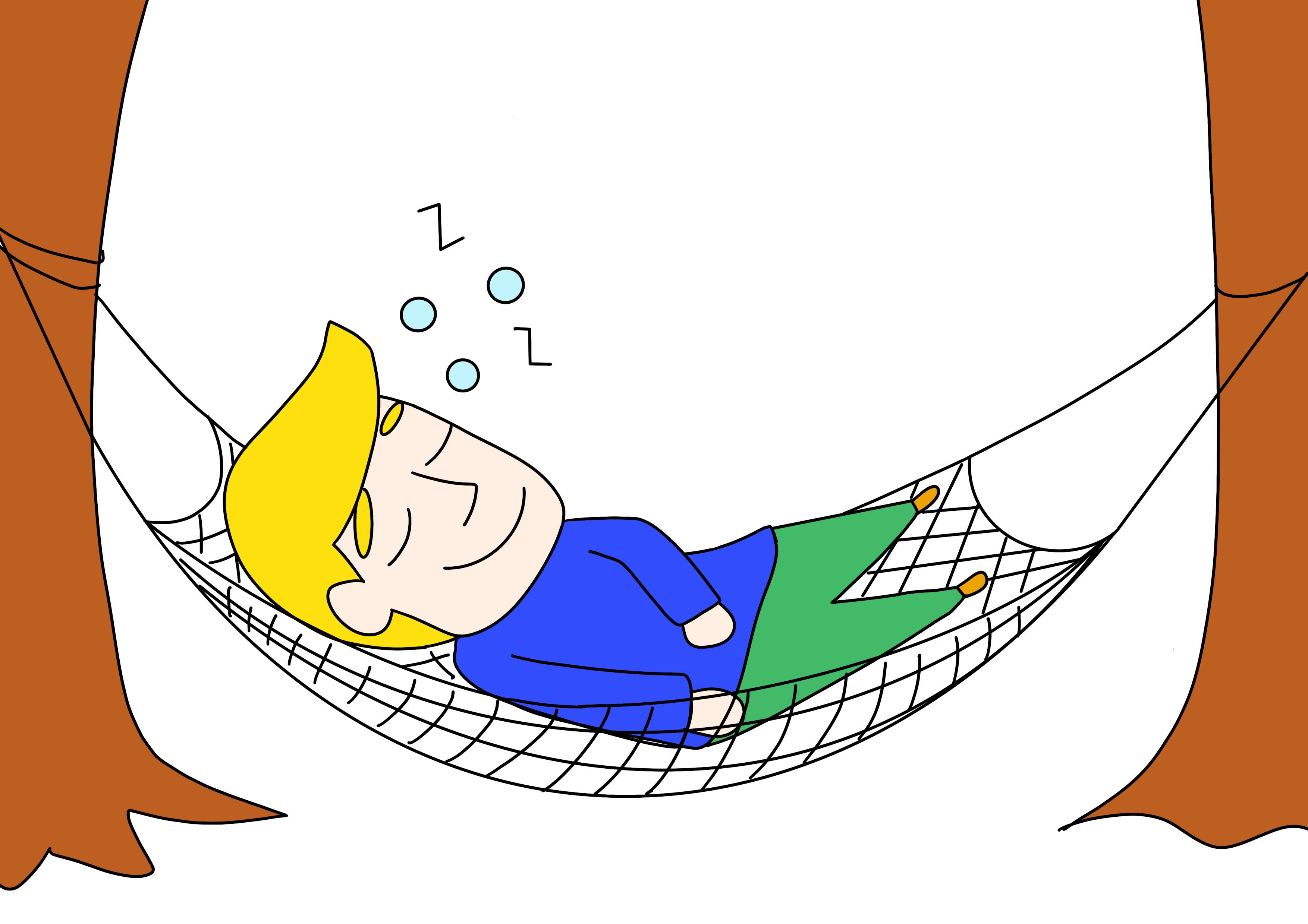 44課イラスト【眠る/ハンモック】