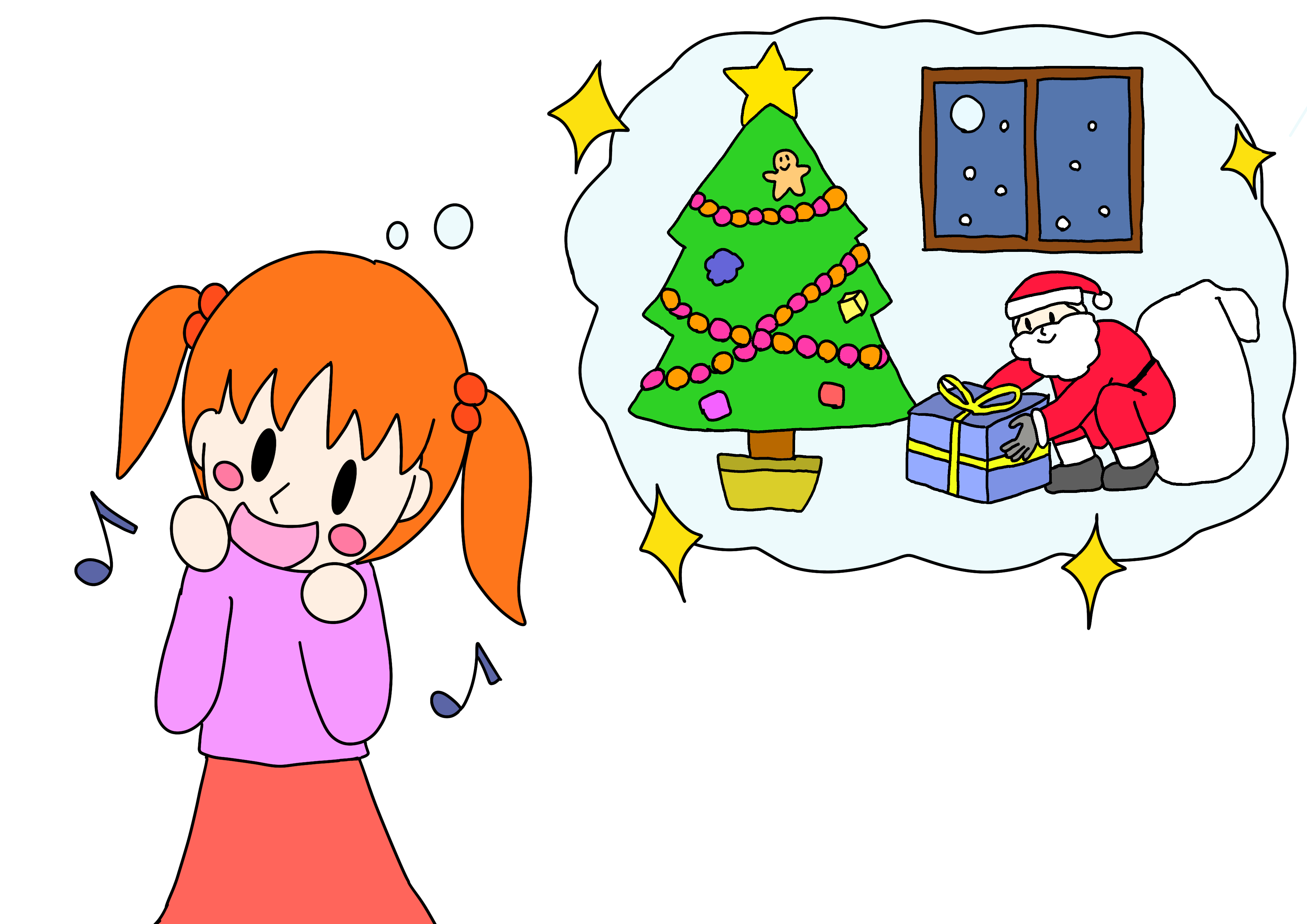 45課イラスト【サンタさんを信じる】