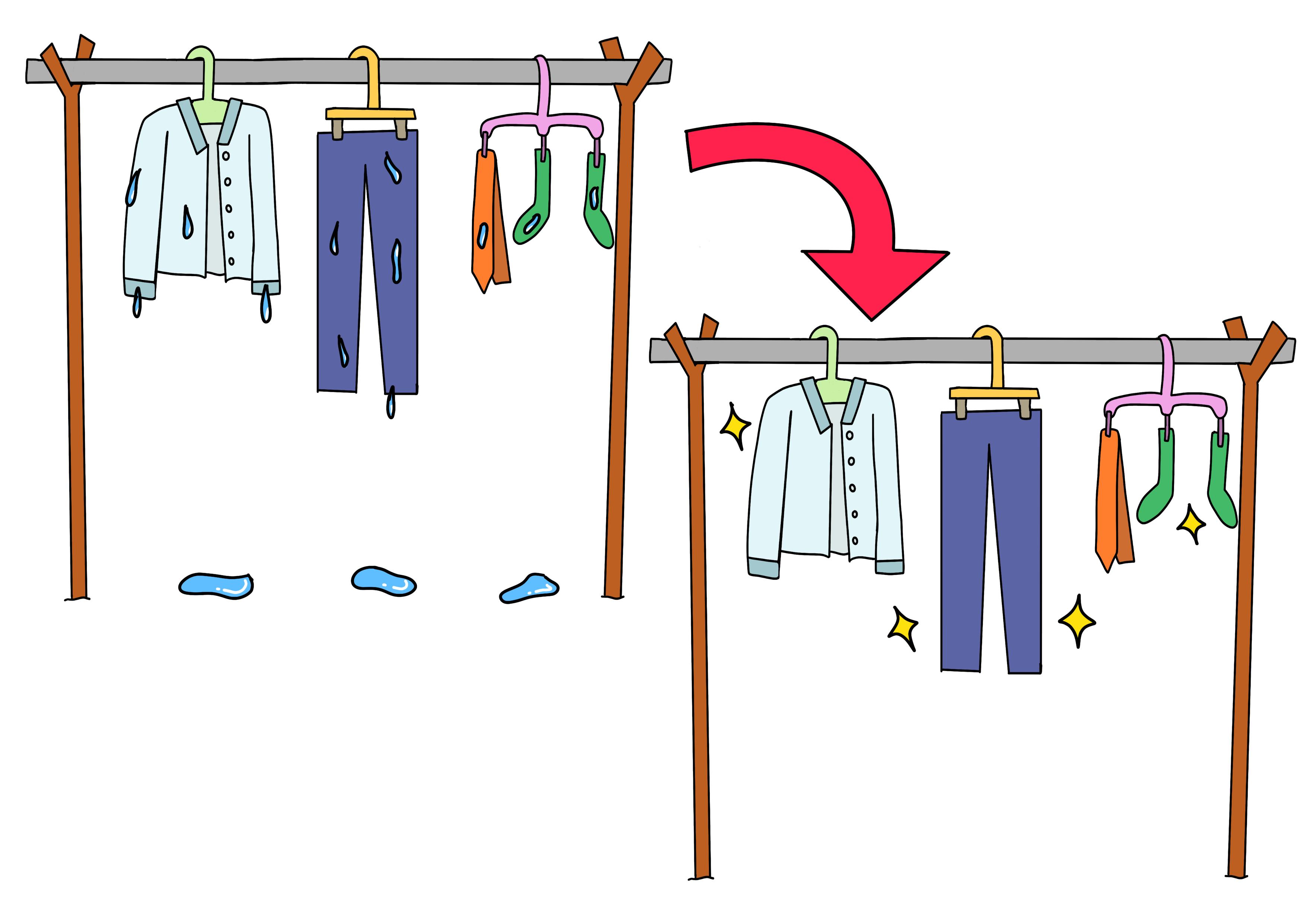 44課イラスト【洗濯物が乾く】