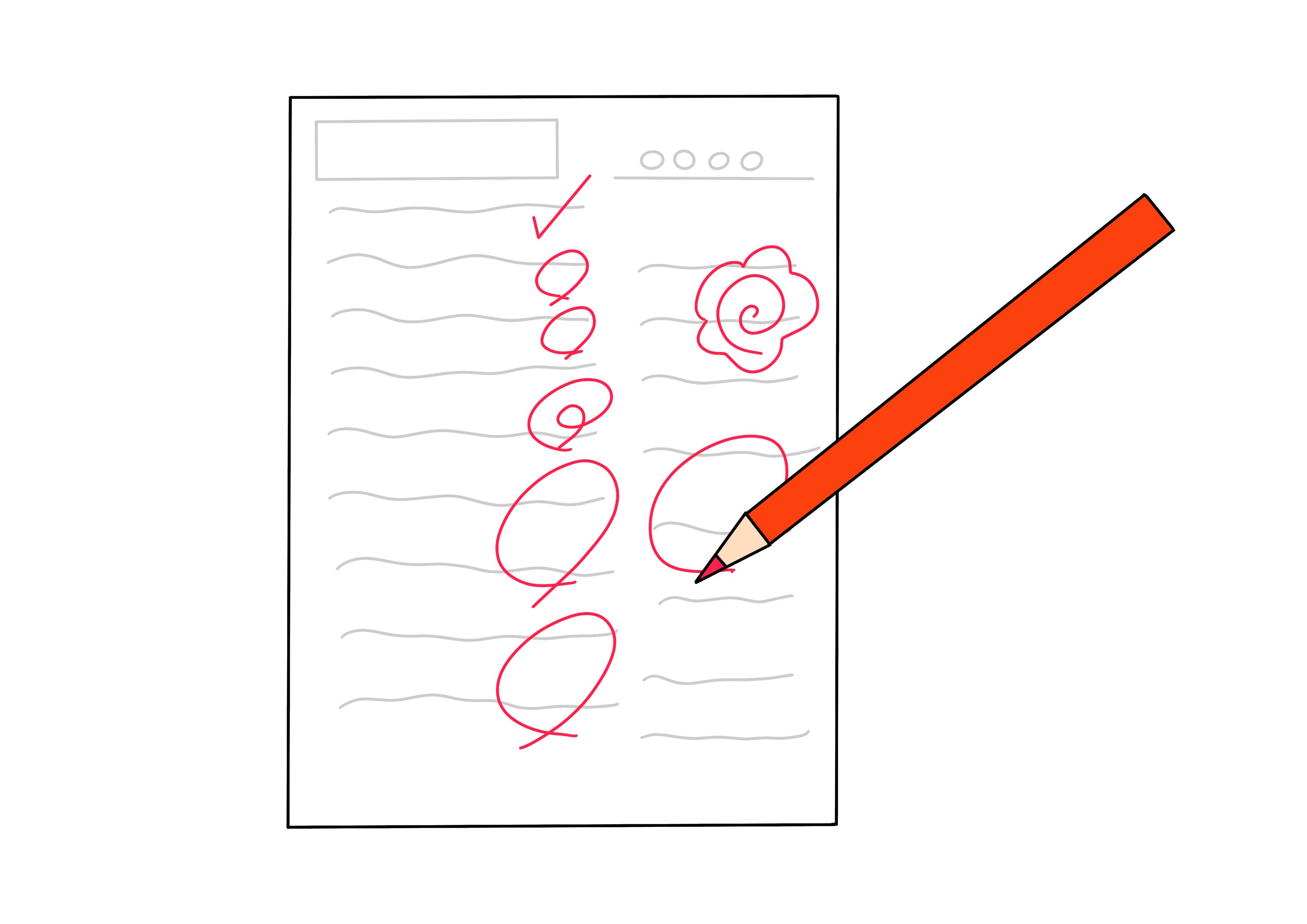 35課イラスト【テストの丸をつける】