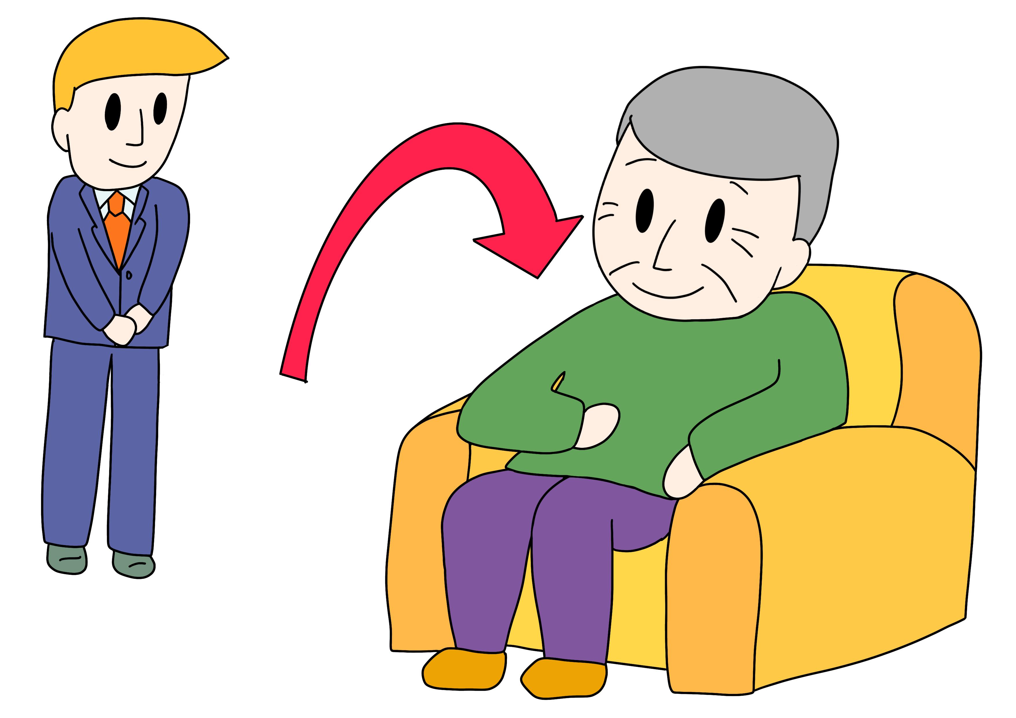 49課イラスト【いすに座る/腰掛ける】