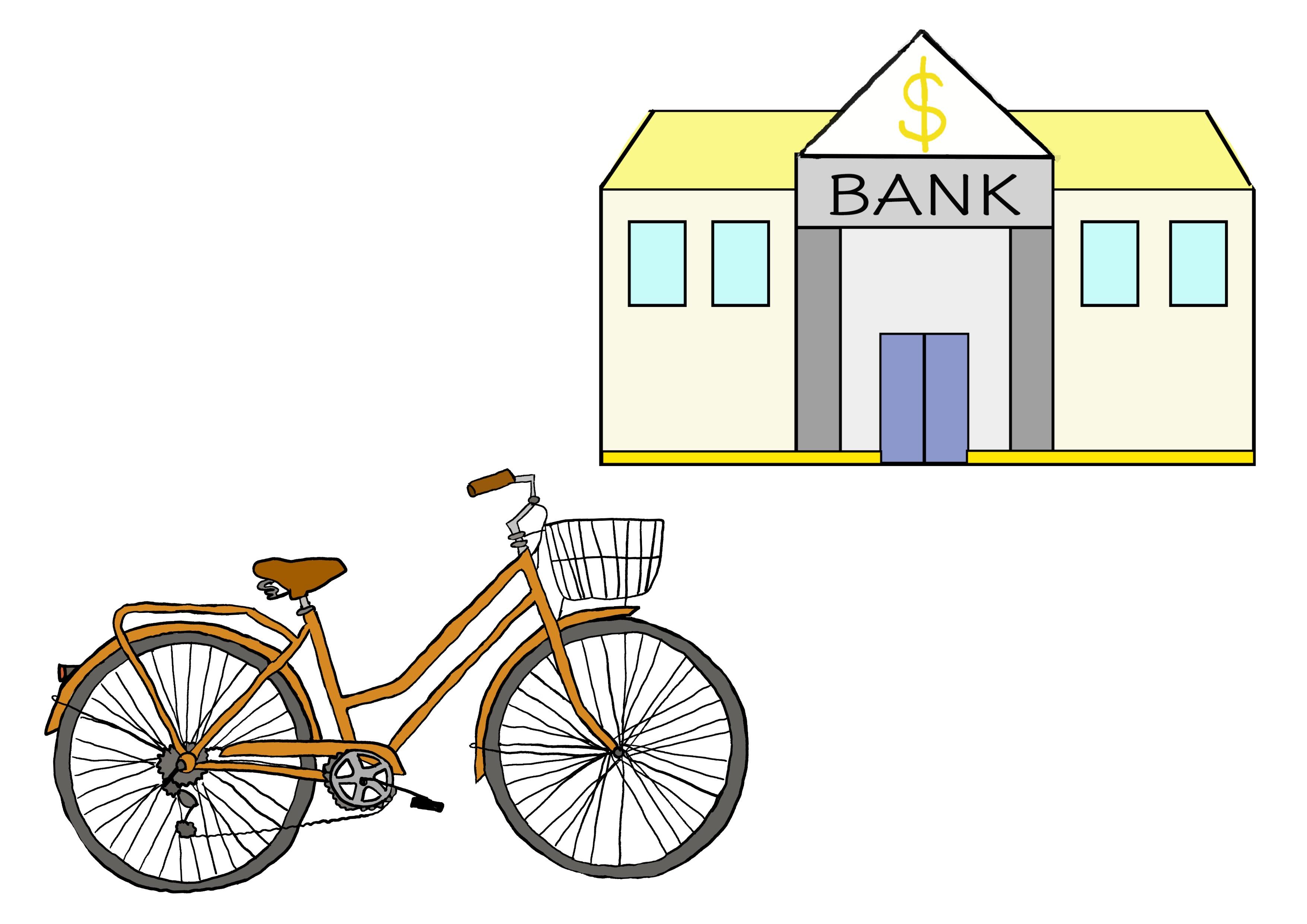 5課イラスト【自転車で銀行へ行きます】