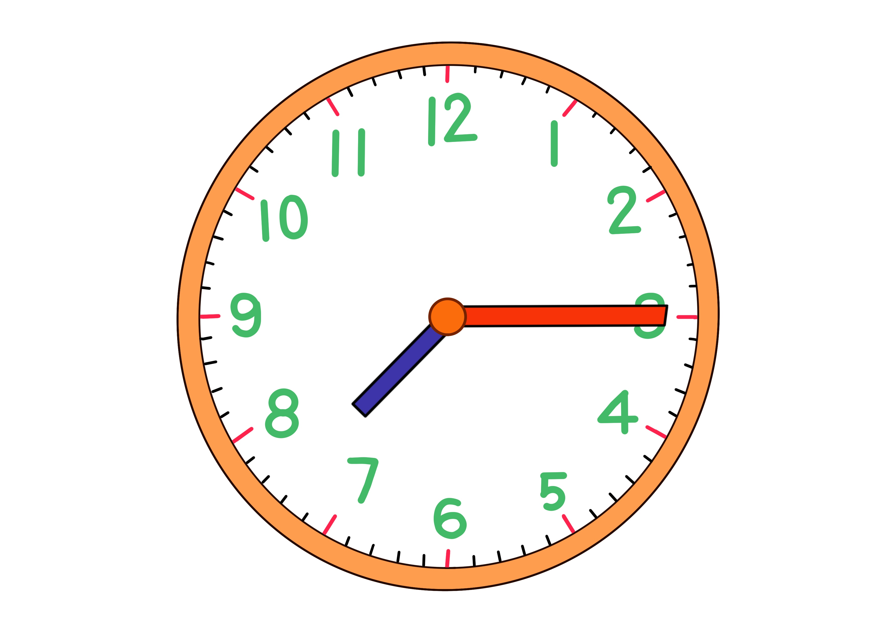 時計イラスト【7時15分】