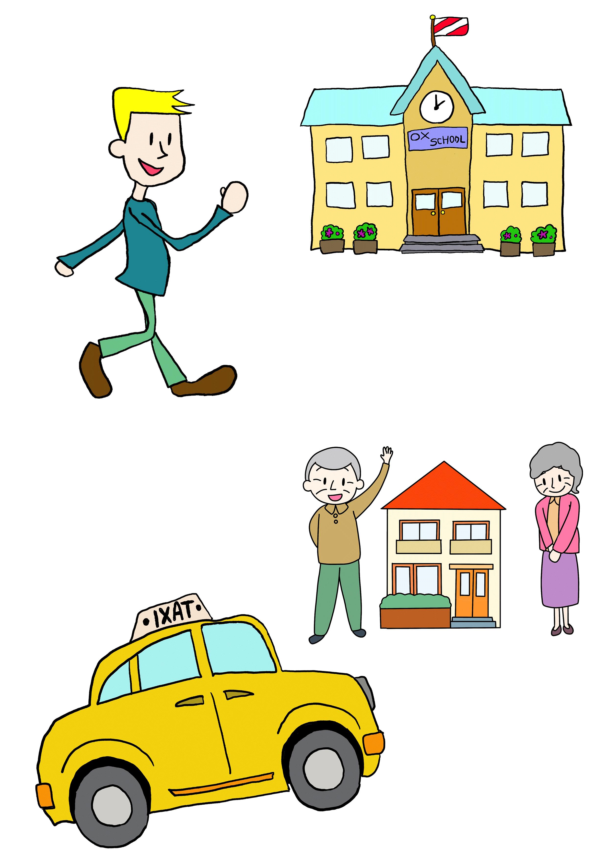 5課イラスト【歩いて学校/タクシーでうち】