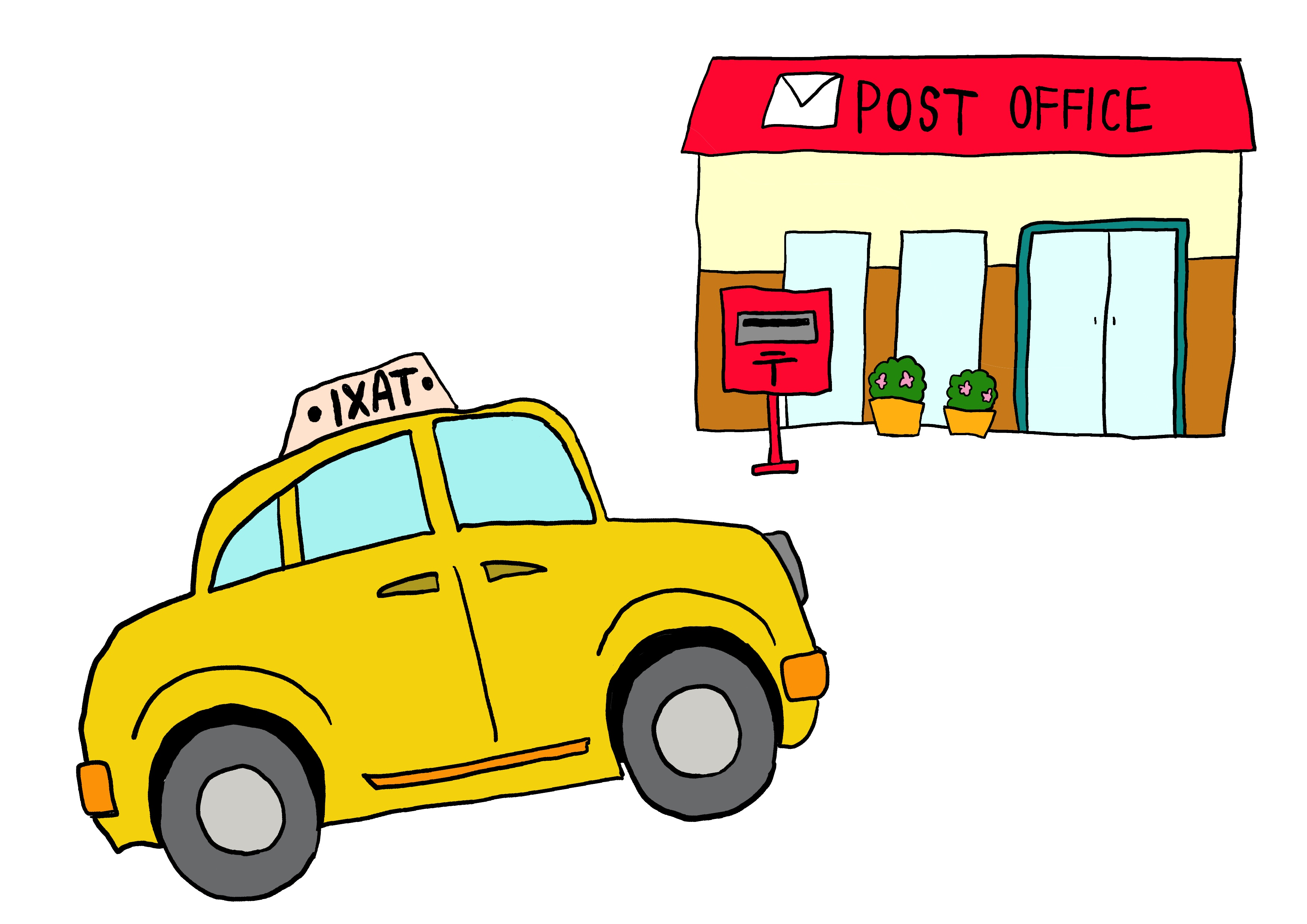 5課イラスト【タクシーで郵便局へ行く】