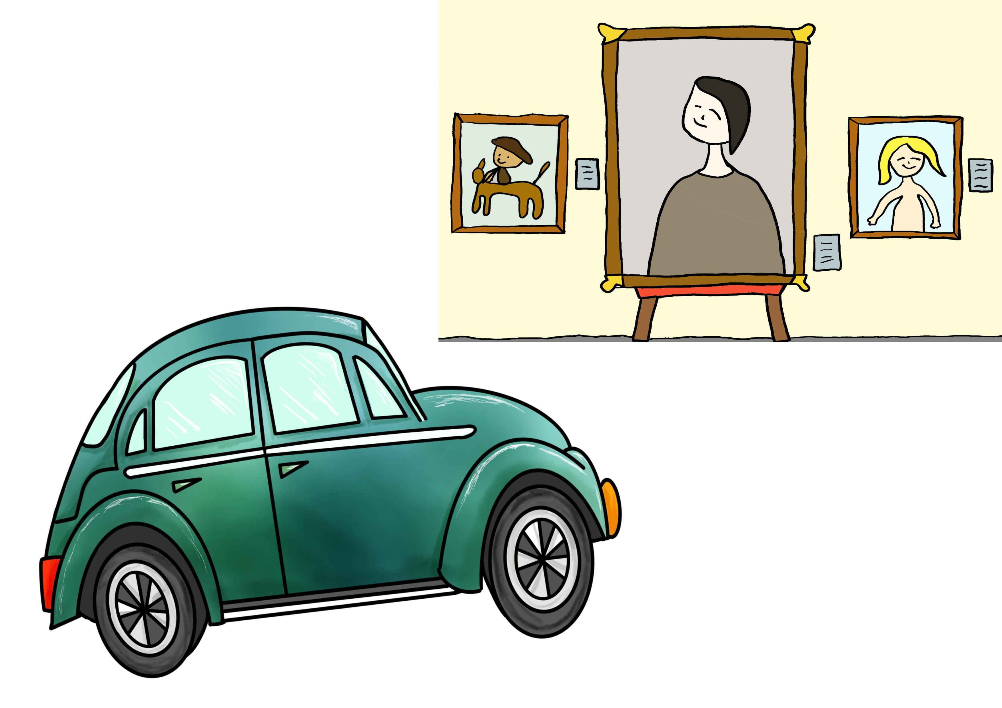 5課イラスト【車で美術館へ行きます】