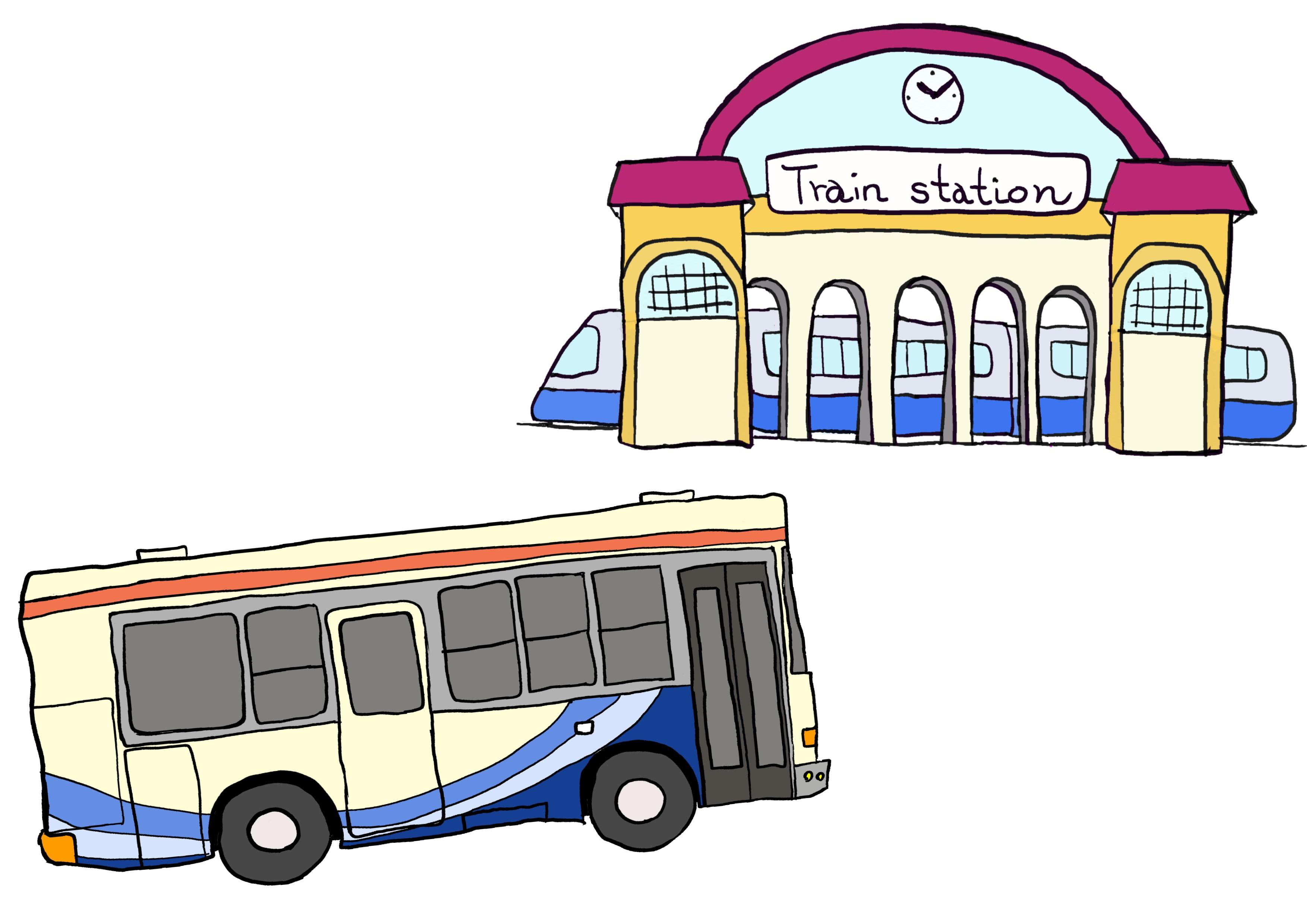 5課イラスト【バスで駅へ行く】