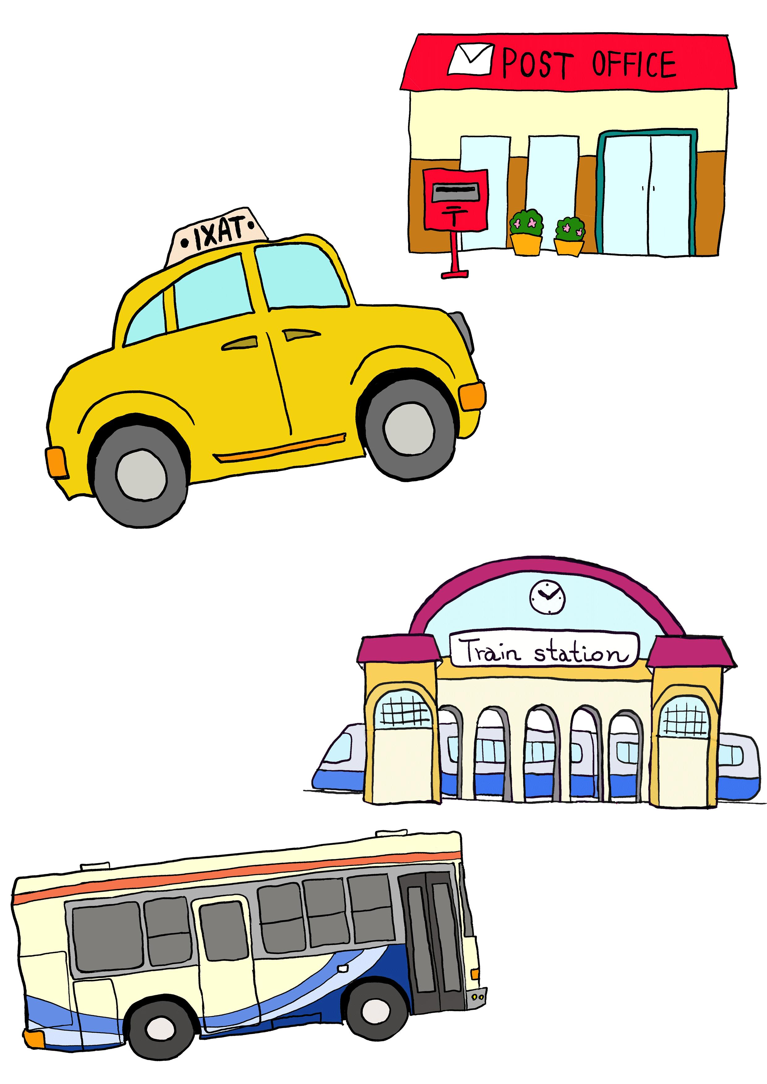 5課イラスト【タクシーで郵便局/バスで駅】
