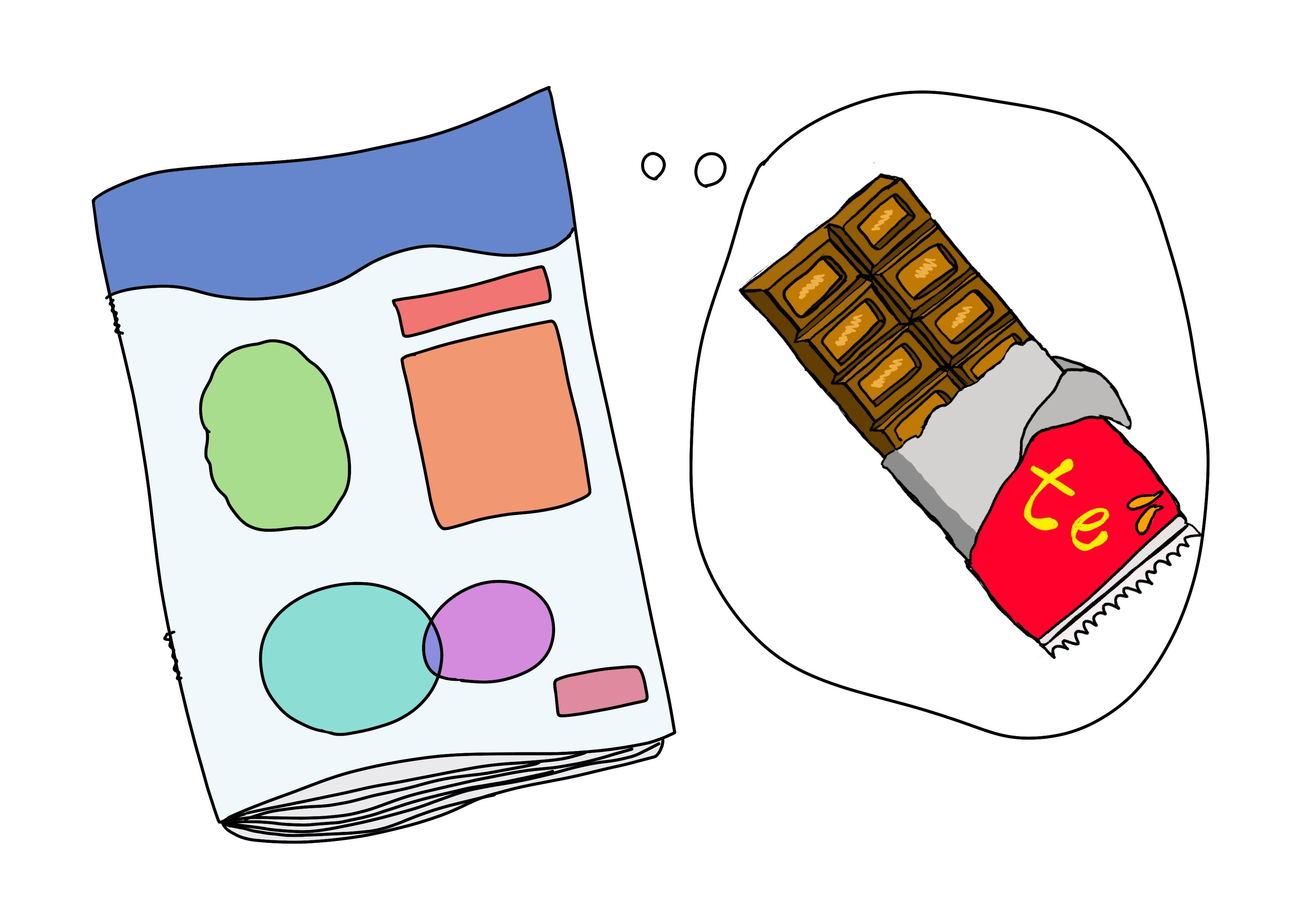 2課イラスト【チョコレートの雑誌】