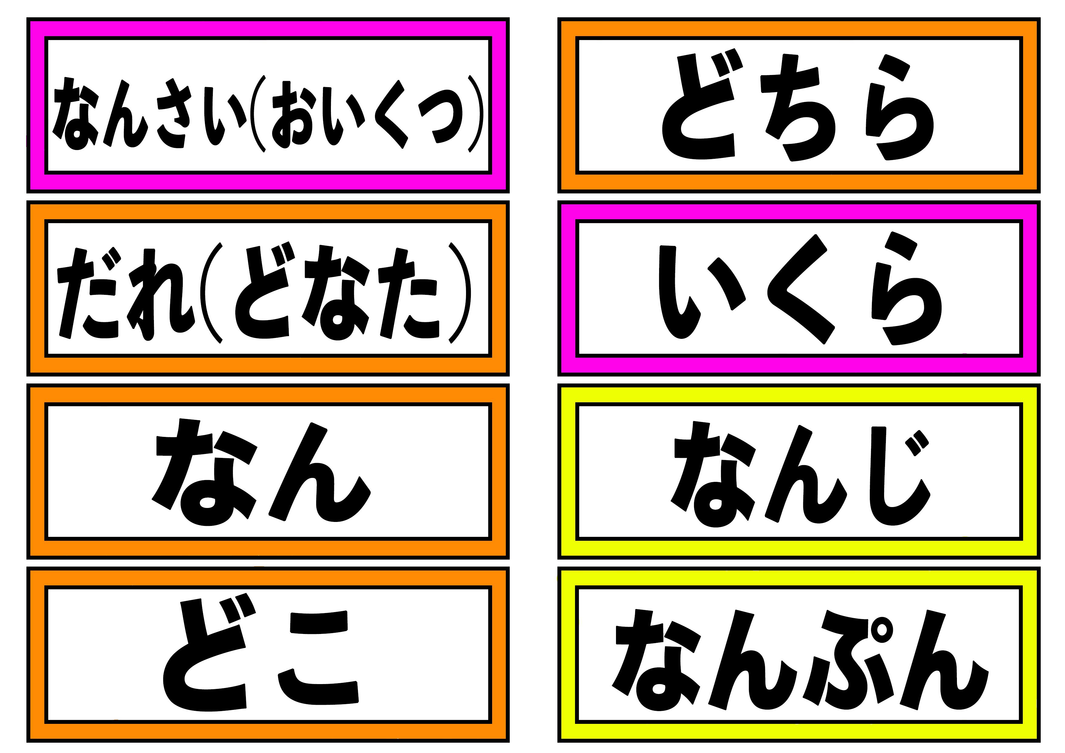 文字カード【疑問詞カード】