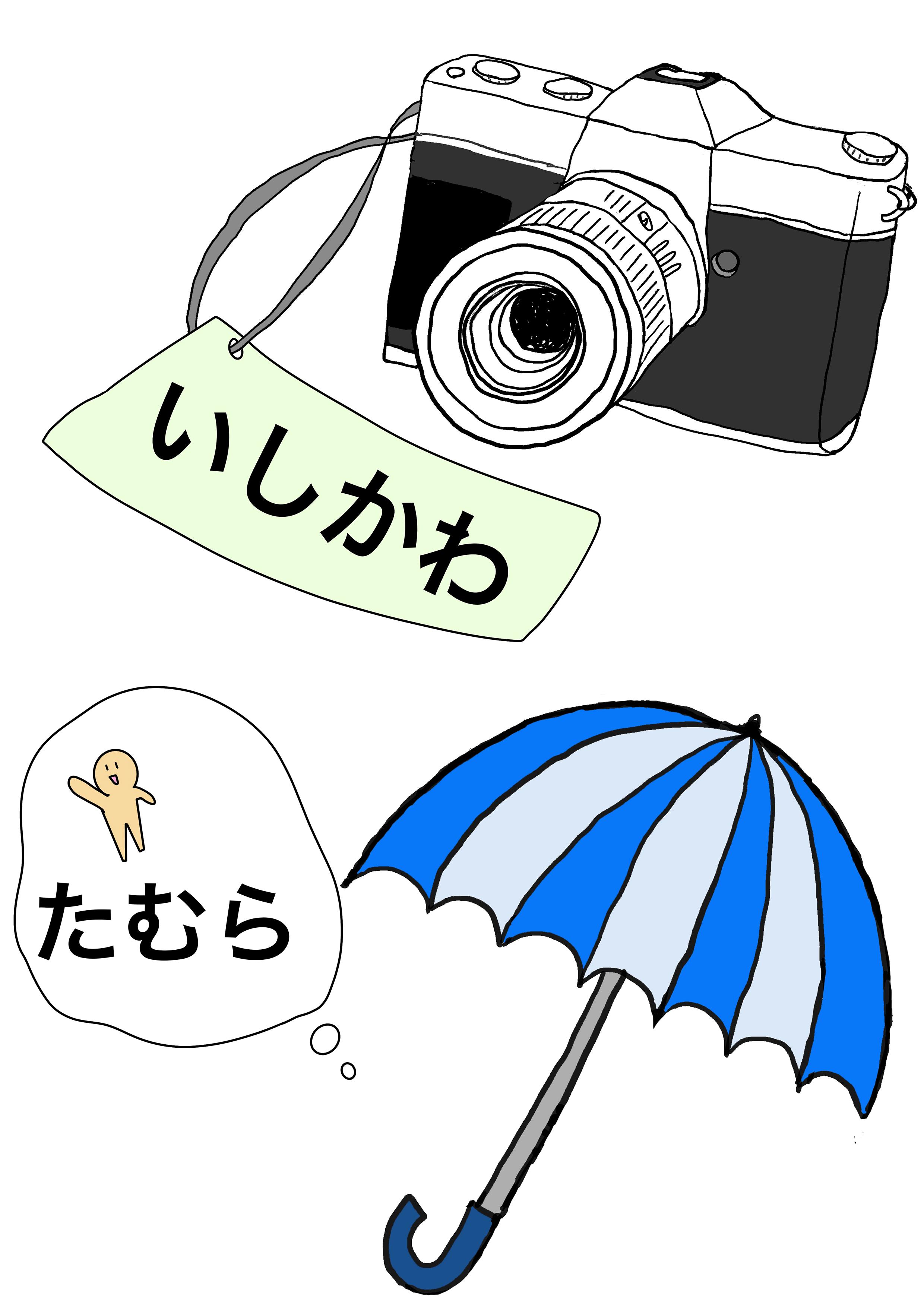 2課イラスト【カメラ/傘】