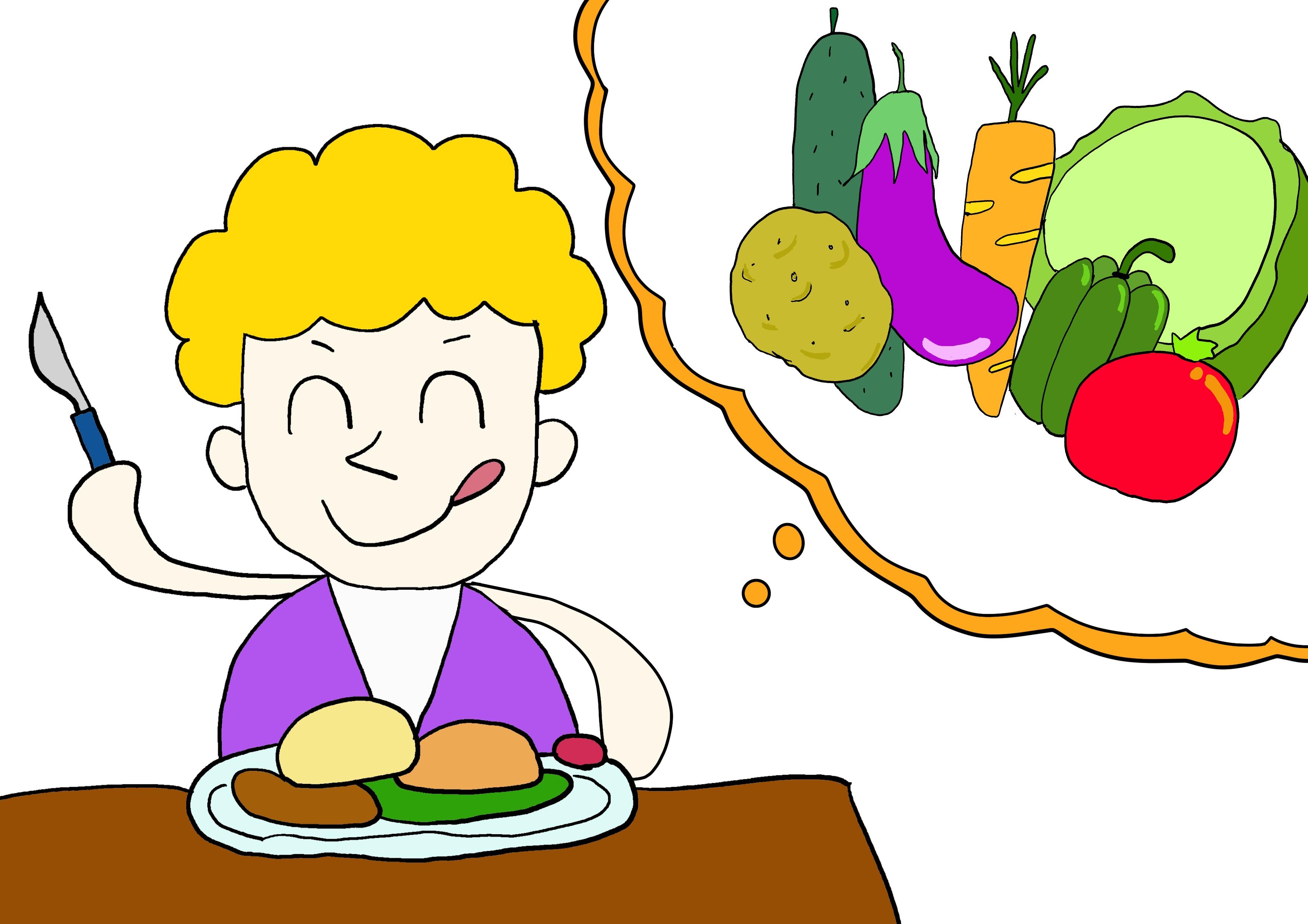 6課イラスト【野菜を食べる】