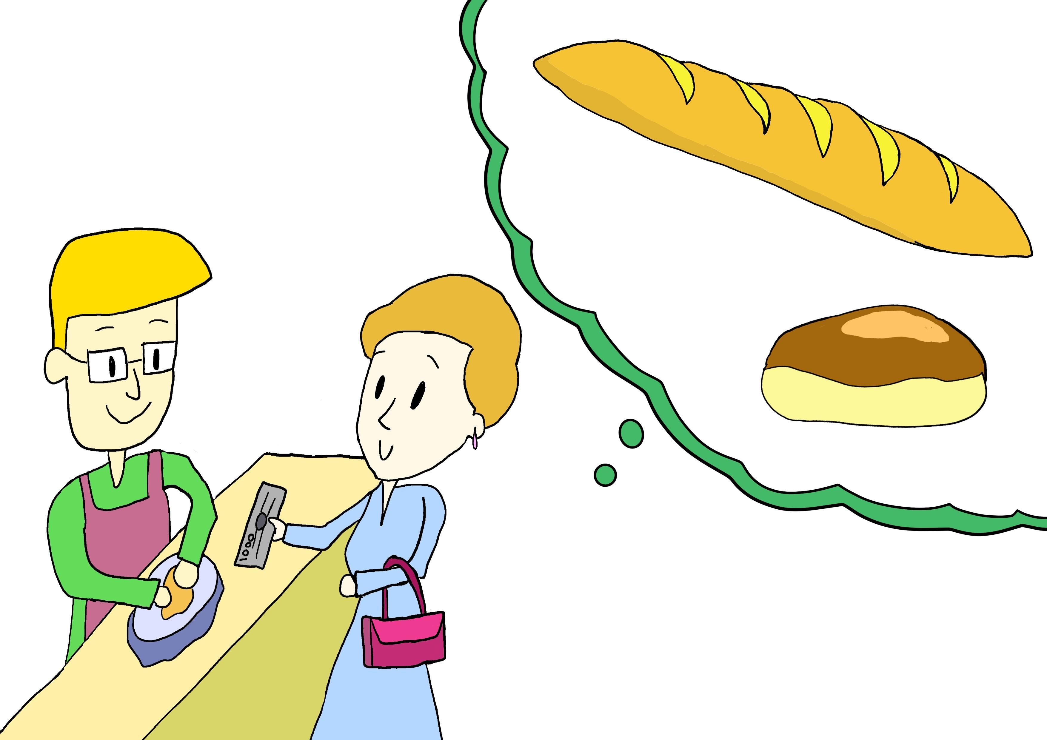 6課イラスト【パンを買う】