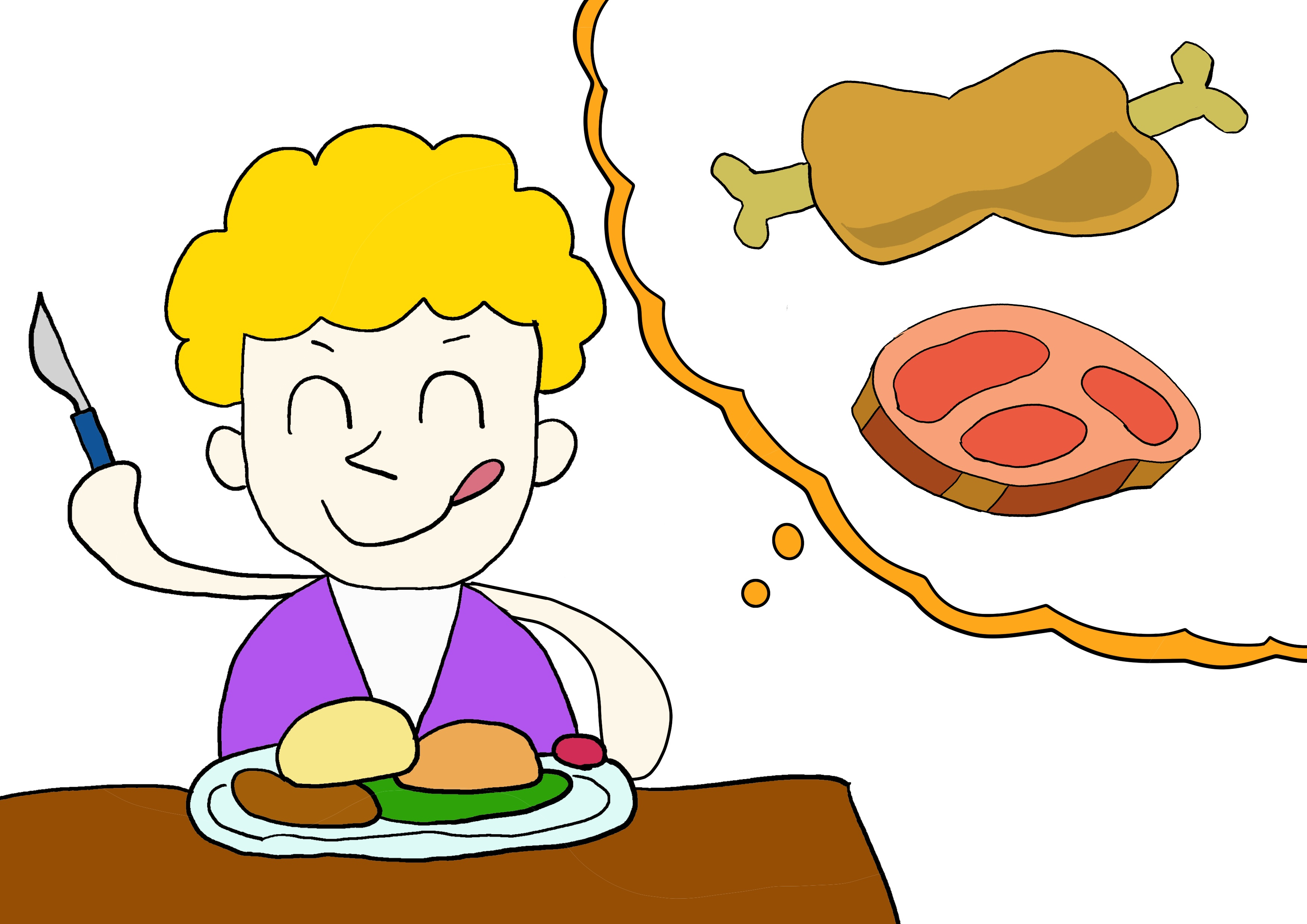 6課イラスト【肉を食べる】
