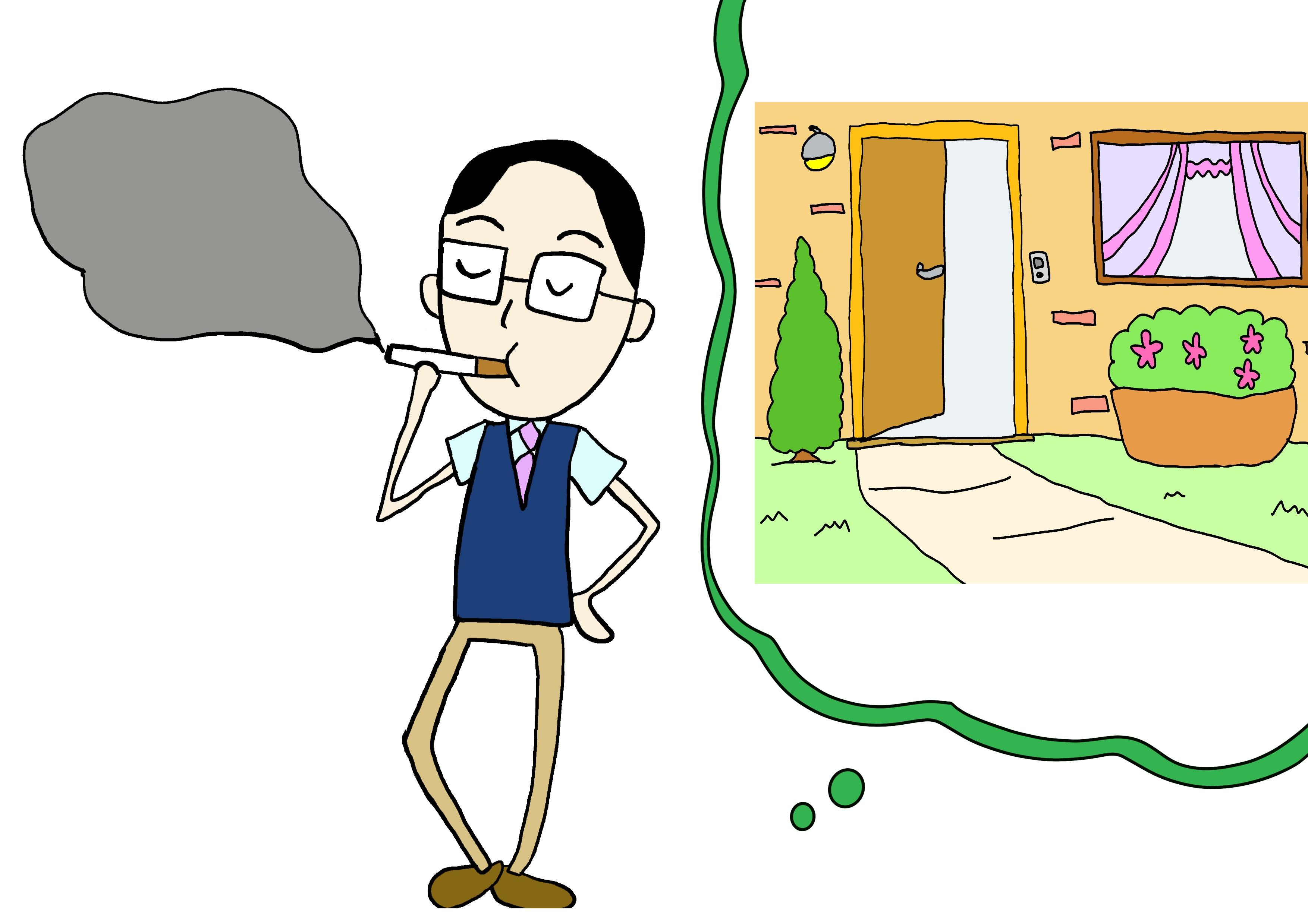 6課イラスト【庭でたばこを吸う】