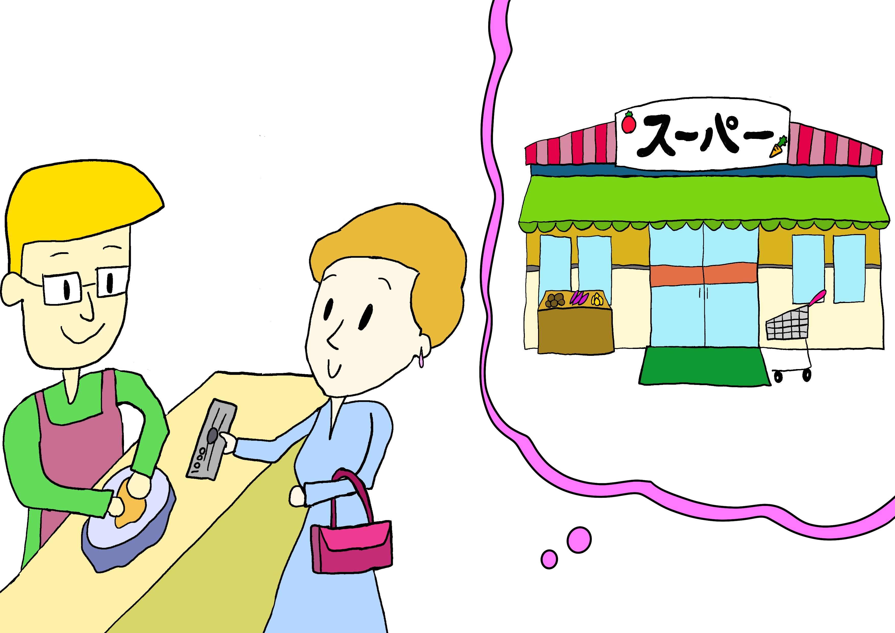 6課イラスト【スーパーで買う】