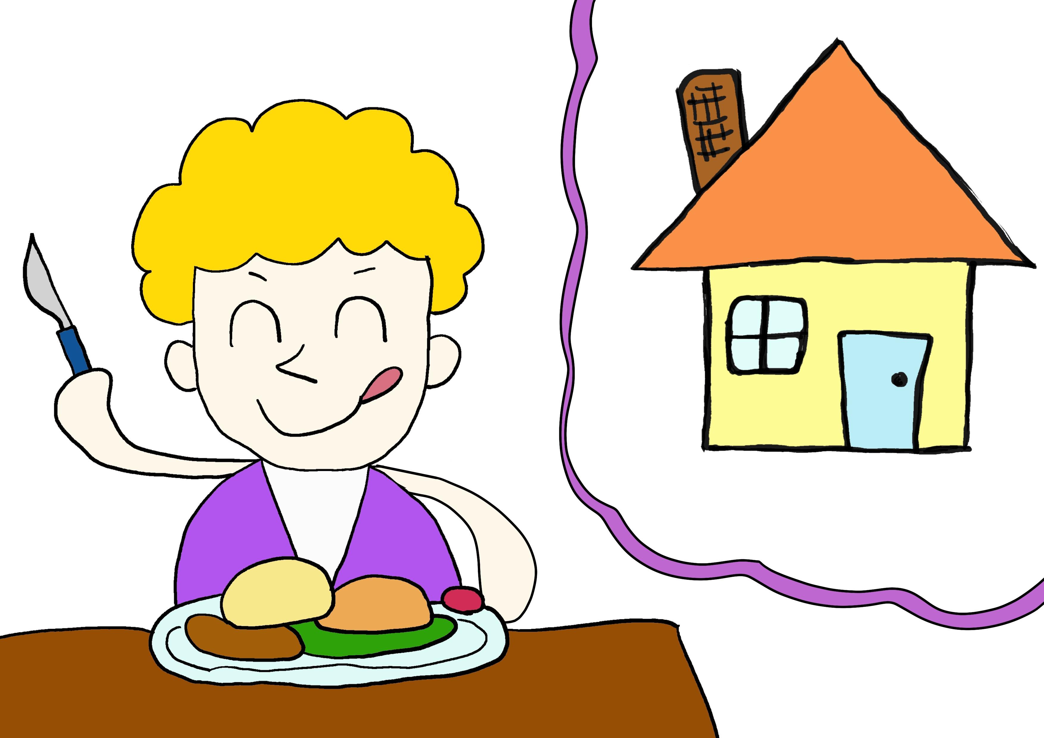 6課イラスト【うちで食べる】
